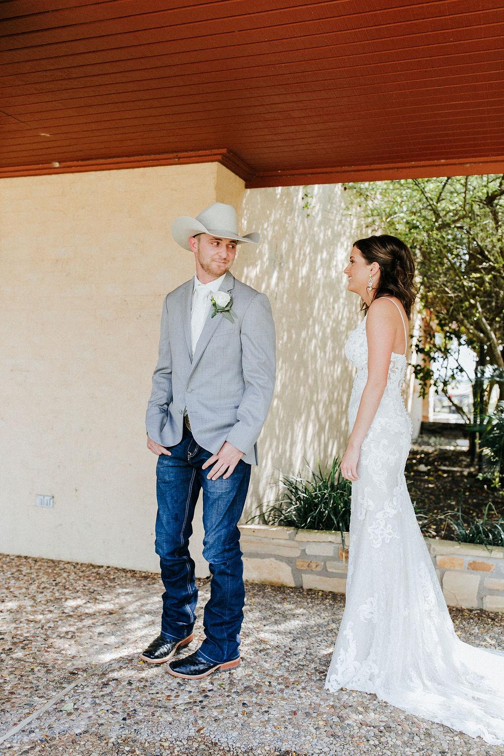 Epoch Co+ Destination wedding planner   First Look Photo Ideas with Groom   Rockin Star Ranch, Brenham Wedding Venue   Velvet + Wire Photography   Austin Wedding Planner