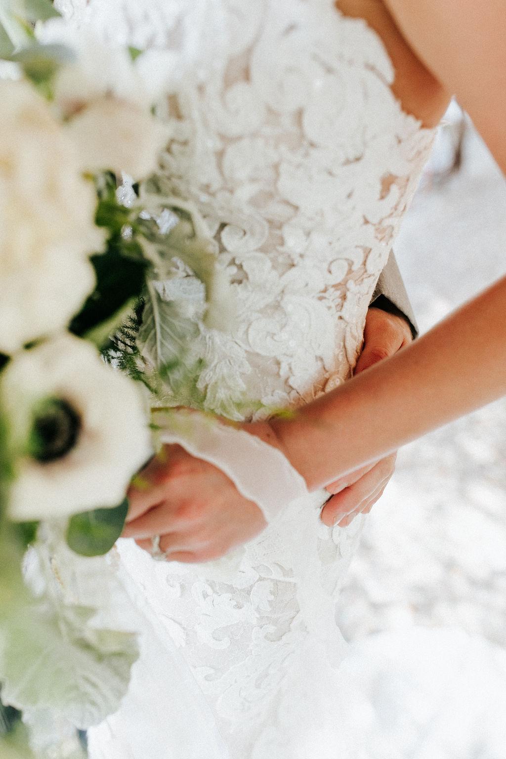 Epoch Co+ Destination wedding planner | First Look Photo Ideas with Groom | Rockin Star Ranch, Brenham Wedding Venue | Velvet + Wire Photography | Austin Wedding Planner | Wedding Dress Detail