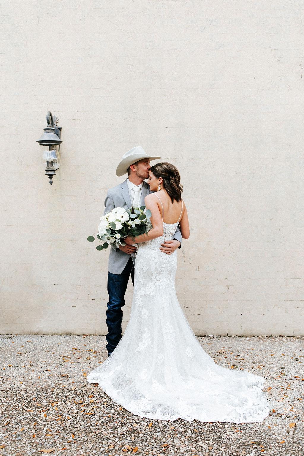 Epoch Co+ Destination wedding planner | First Look Photo Ideas with Groom | Rockin Star Ranch, Brenham Wedding Venue | Velvet + Wire Photography | Austin Wedding Planner | Wedding Dress Portrait