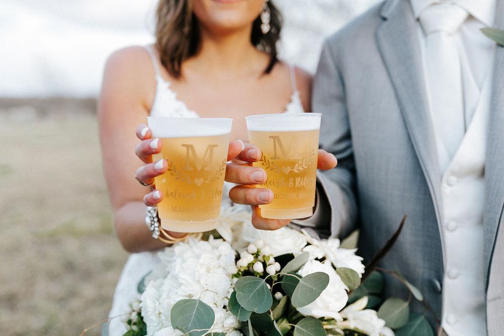Epoch Co+ Destination wedding planner | First Look Photo Ideas with Groom | Monogrammed Custom Wedding Cups | Velvet + Wire Photography | Austin Wedding Planner