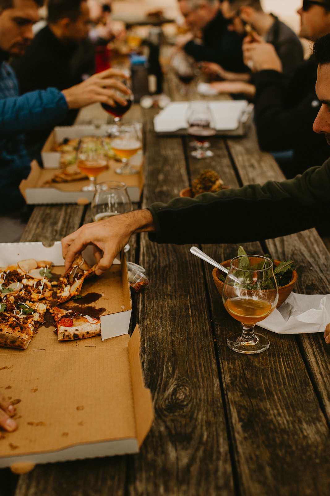 destination wedding planner + destination wedding coordinator + jester king brewery groom + groomsmen pre-wedding hangout + austin, dripping springs, texas + pizza + craft beer