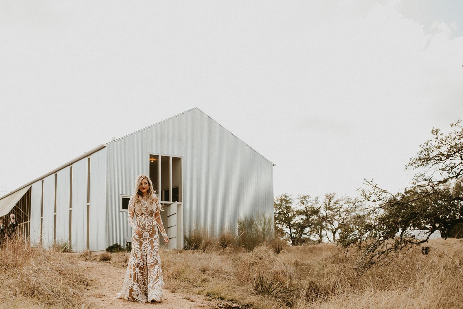Epoch Co+ | Bride + Groom First Look | Austin Wedding Venue Prospect House | Bridal Dress + Rue De Seine Wedding Dress  | Austin Wedding Planner