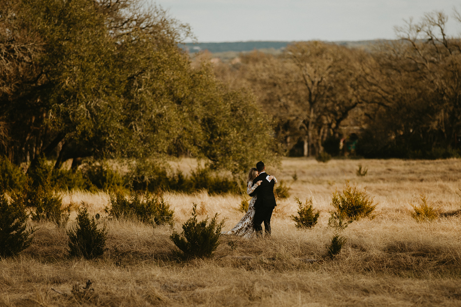 Epoch Co+ | Bride + Groom First Look | Austin Wedding Venue Prospect House | Private Vow Exchange + Adventure + Country + Outdoors + Moody | Austin Wedding Photographer Century Tree Productions