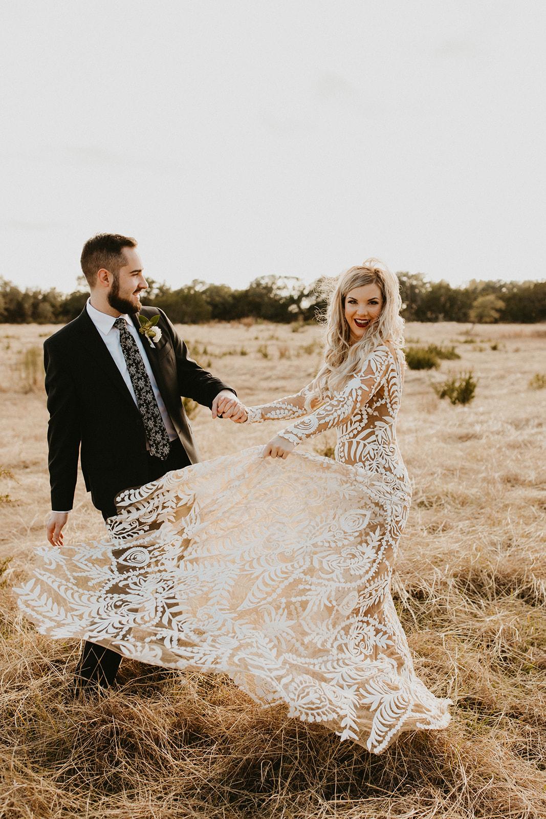Epoch Co+ | Bride + Groom First Look Portraits | Austin Wedding Venue Prospect House | Adventure + Country + Outdoors + Moody + Bridal Hairstyle + Wedding Dress + Groom Attire  | Austin Wedding Photographer Century Tree Productions