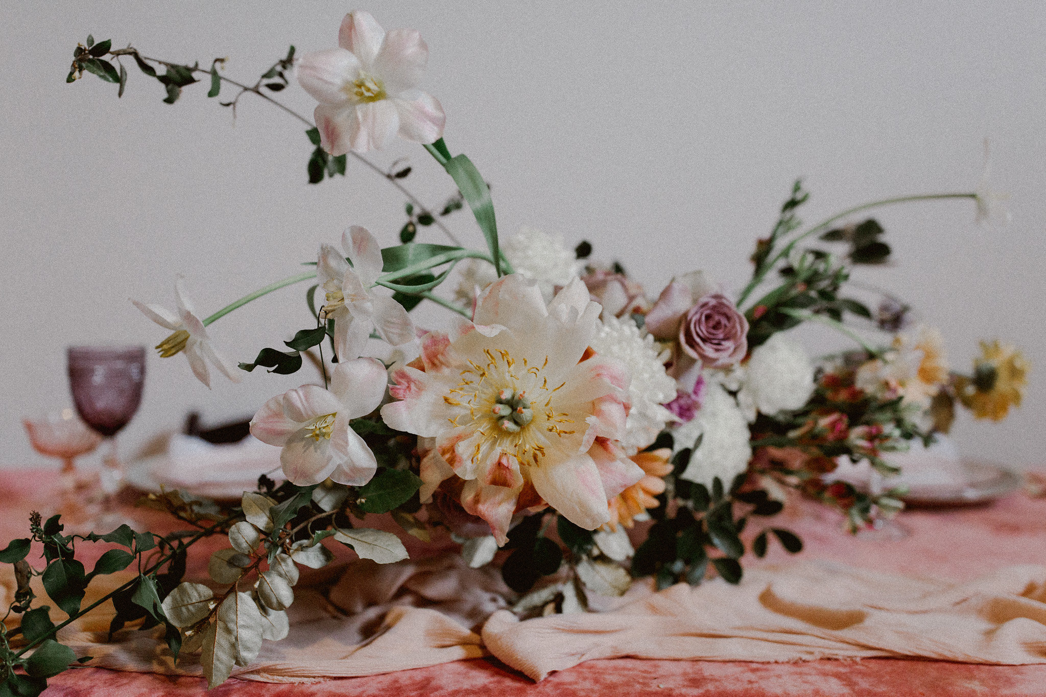 Pink Velvet Table Inspiration | Studio Tersilla Floral Design Inspiration | Bryan, Texas | Pink + Purple + Vintage + Romantic + Blush + Daisy + Peony + Organic + Wild + Juicy Colorful | College Station Wedding Coordinator Epoch Co+