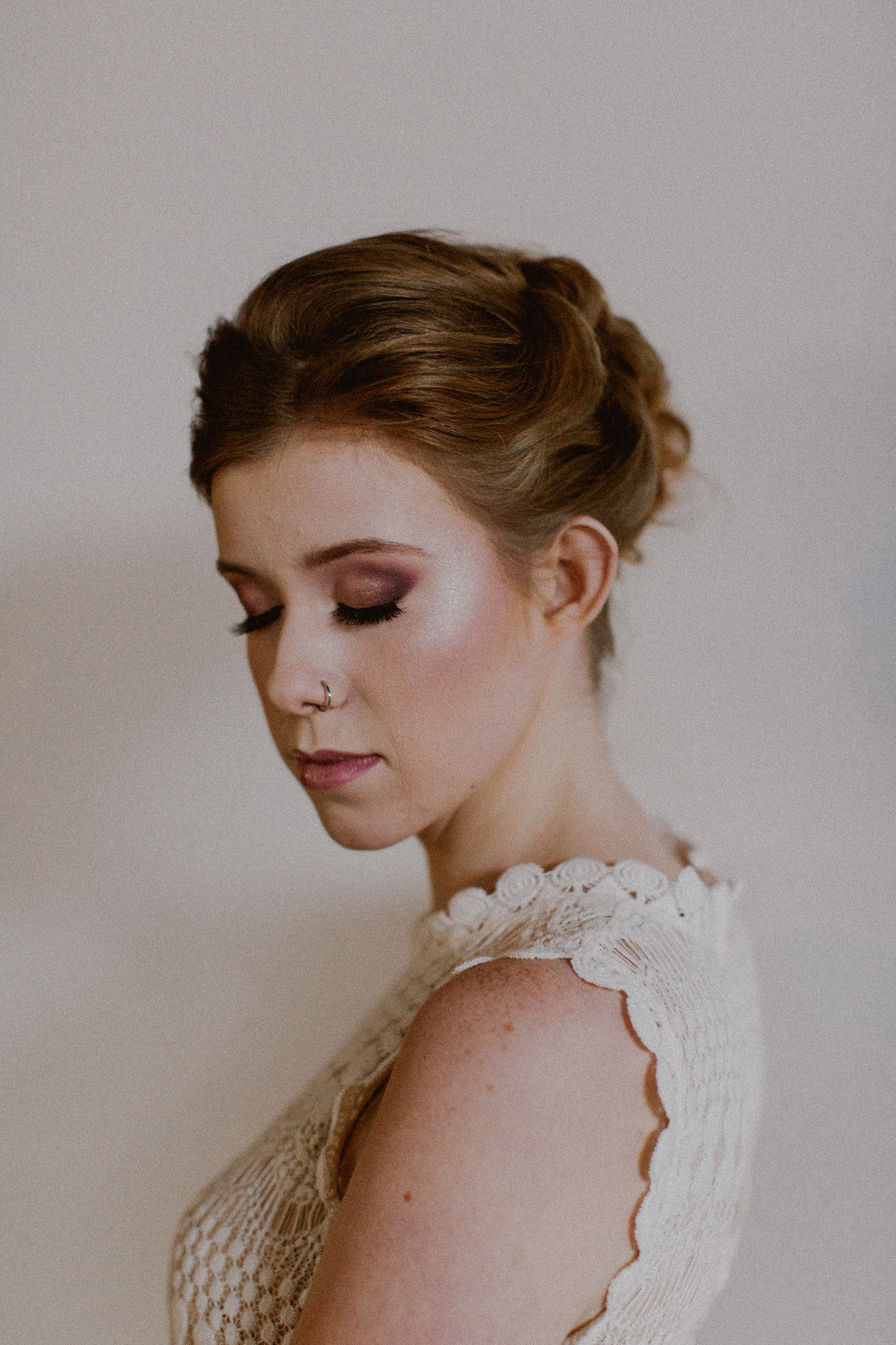 Romantic Bridal updo hairstyle + makeup | College Station hair + makeup artist Naturally Flawless | Bryan, Texas | Pink + Purple + Vintage + Romantic + Blush + crochet + two piece wedding dress | Wedding Coordinator Epoch Co+
