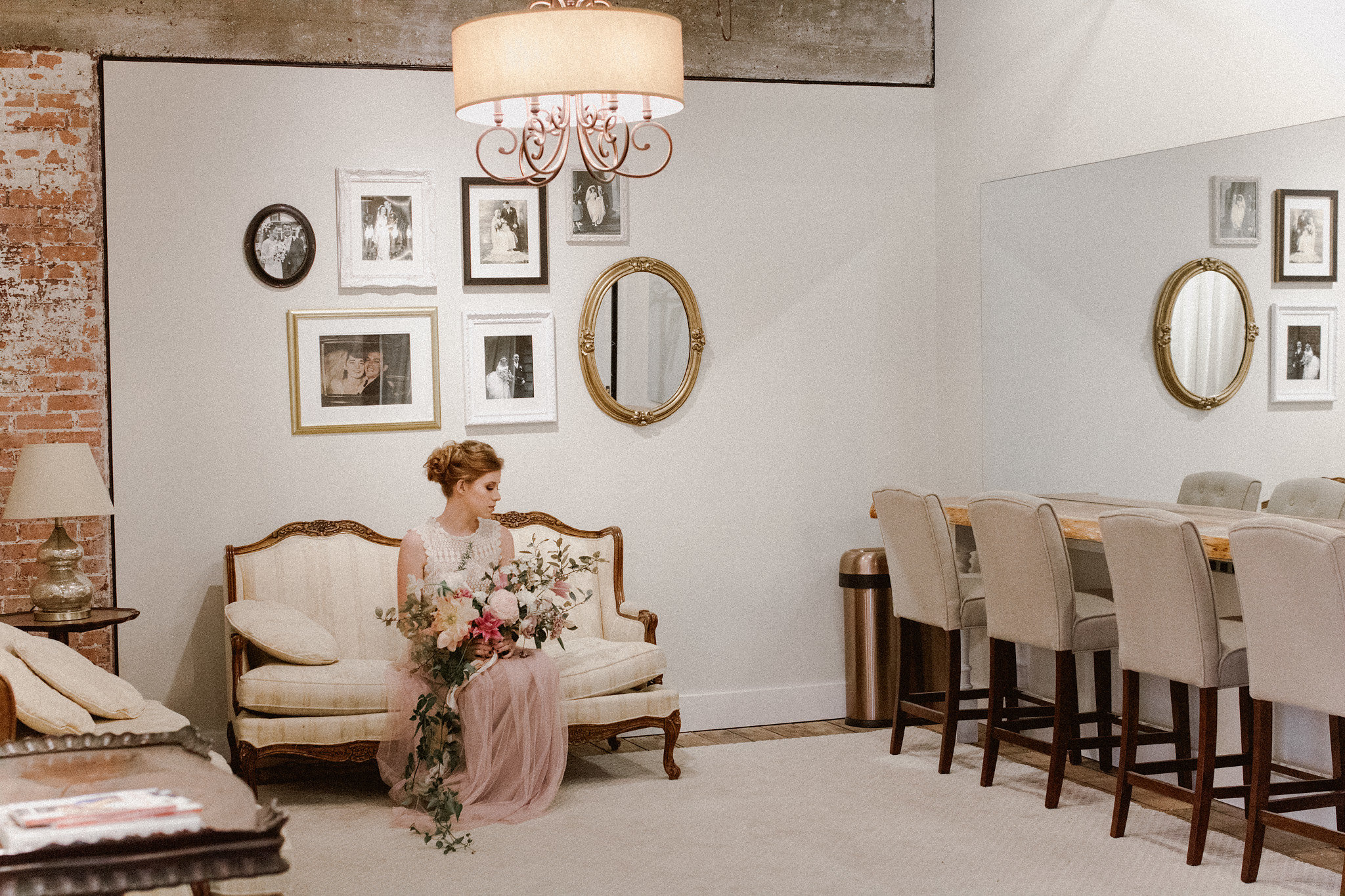 Romantic Bridal Updo hairstyle + makeup | College Station hair + makeup artist Naturally Flawless | Bryan, Texas | Pink + Purple + Vintage + Romantic + Blush + crochet + Ice house on Main wedding venue bridal suite | Wedding Coordinator Epoch Co+