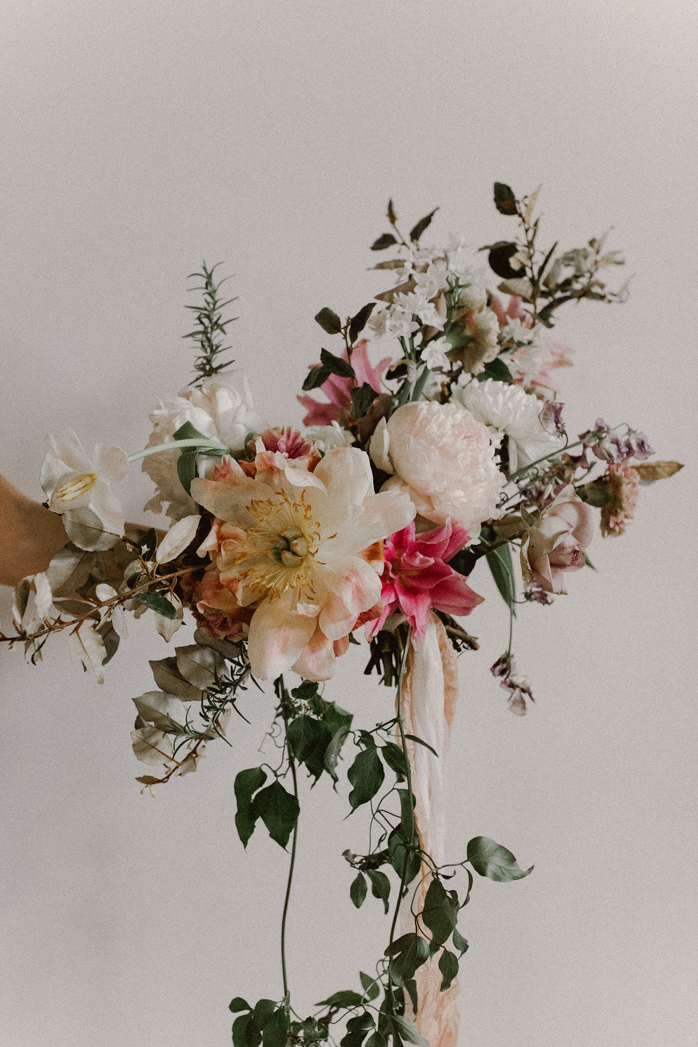 Dallas Florist Studio Tersilla old world romantic wild cascading bridal bouquet | College Station hair + makeup artist Naturally Flawless | Bryan, Texas | Pink + Purple + Vintage + Romantic + Blush + crochet + two piece wedding dress | Wedding Coordinator Epoch Co+