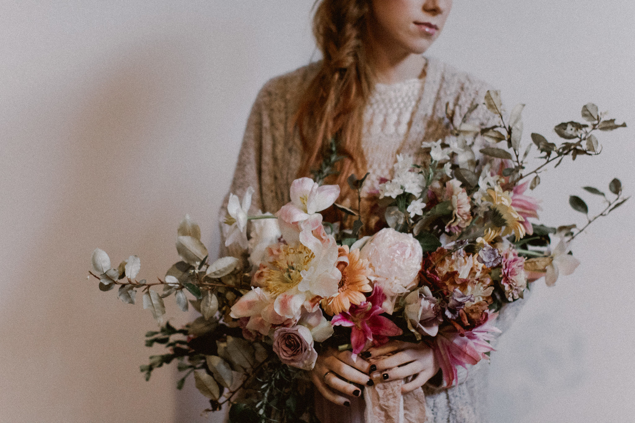 romantic wild old world bridal bouquet inspiration | College Station hair + makeup artist Naturally Flawless | Bryan, Texas | Pink + Purple + Vintage + Romantic + Blush + crochet + two piece wedding dress | Wedding Coordinator Epoch Co+
