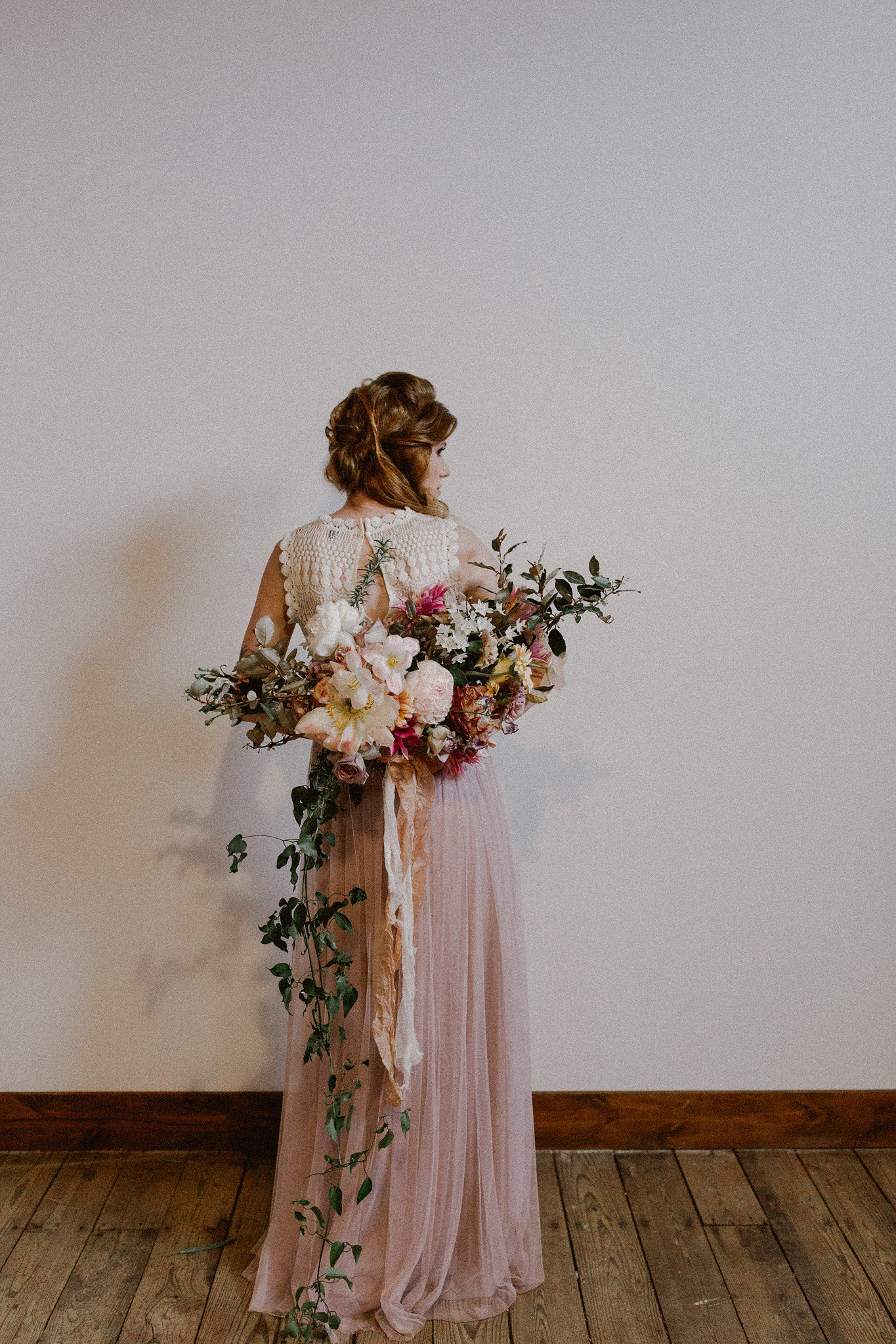 Romantic Free Bridal half up half down hairstyle + makeup | College Station hair + makeup artist Naturally Flawless | Bryan, Texas | Pink + Purple + Vintage + Romantic + Blush + crochet + two piece wedding dress + old world + bridal bouquet | Wedding Coordinator Epoch Co+
