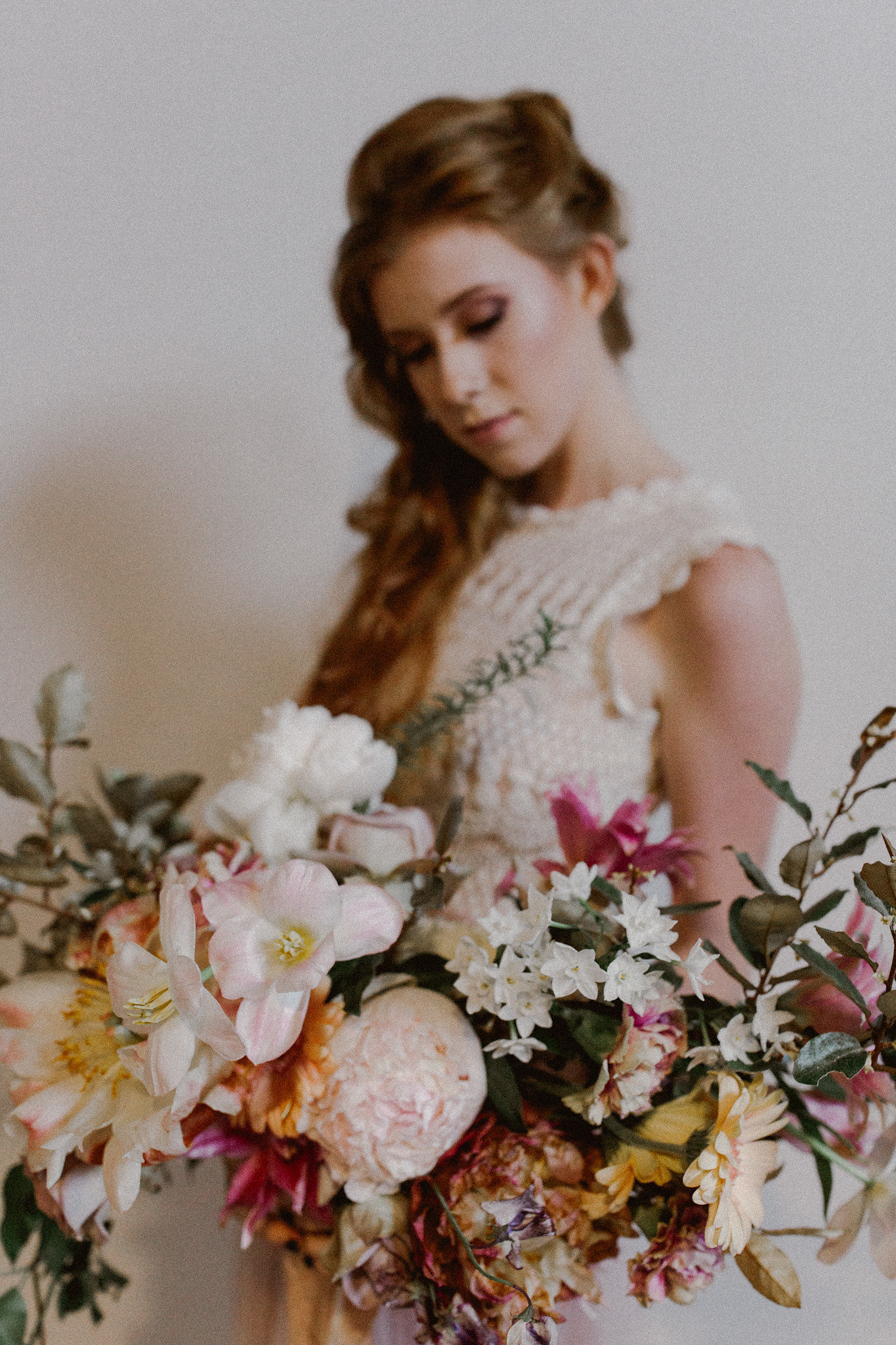 Romantic Free Bridal half up half down hairstyle + makeup | College Station hair + makeup artist Naturally Flawless | Bryan, Texas | Pink + Purple + Vintage + Romantic + Blush + crochet + two piece wedding dress | Wedding Coordinator Epoch Co+
