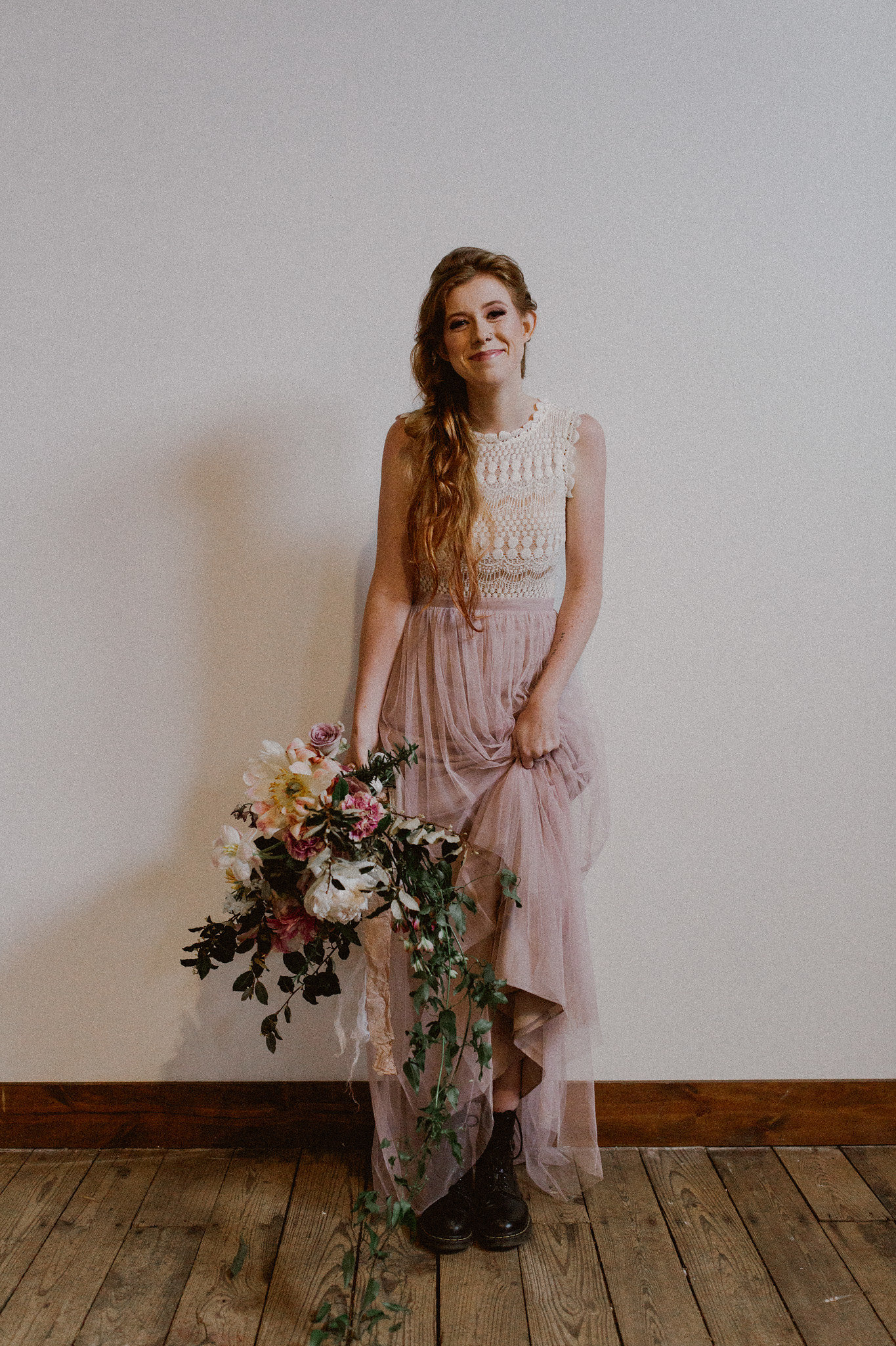 Rock n Roll Bride Boots Shoes | College Station hair + makeup artist Naturally Flawless | Bryan, Texas | Pink + Purple + Vintage + Romantic + Blush + crochet + two piece wedding dress | Wedding Coordinator Epoch Co+
