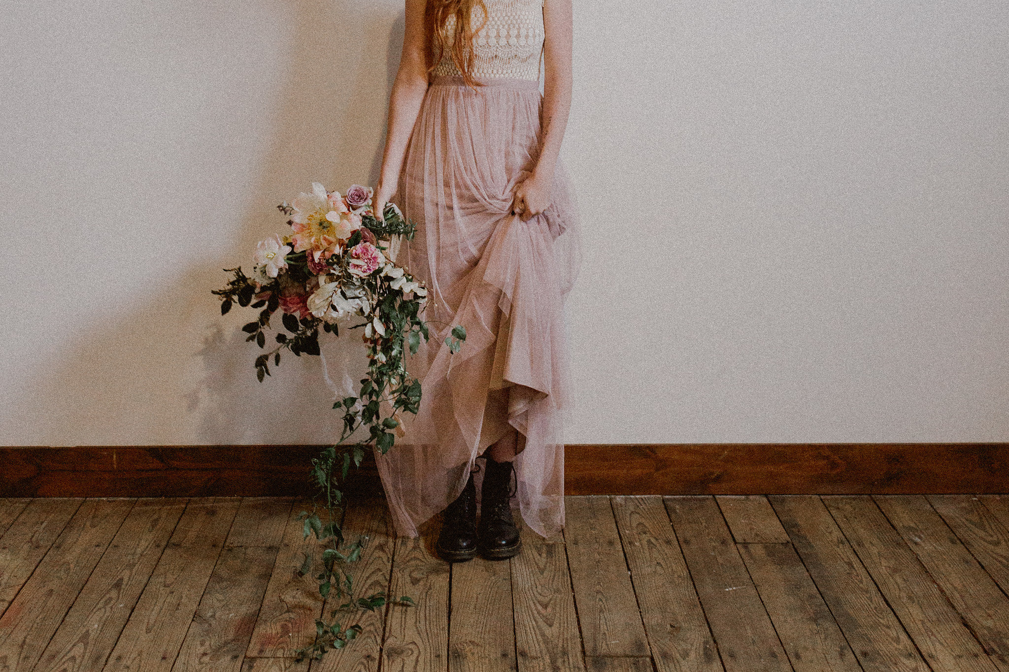 Rock n Roll Bride Black Combat Boots  | College Station hair + makeup artist Naturally Flawless | Bryan, Texas | Pink + Purple + Vintage + Romantic + Blush + crochet + two piece wedding dress | Wedding Coordinator Epoch Co+