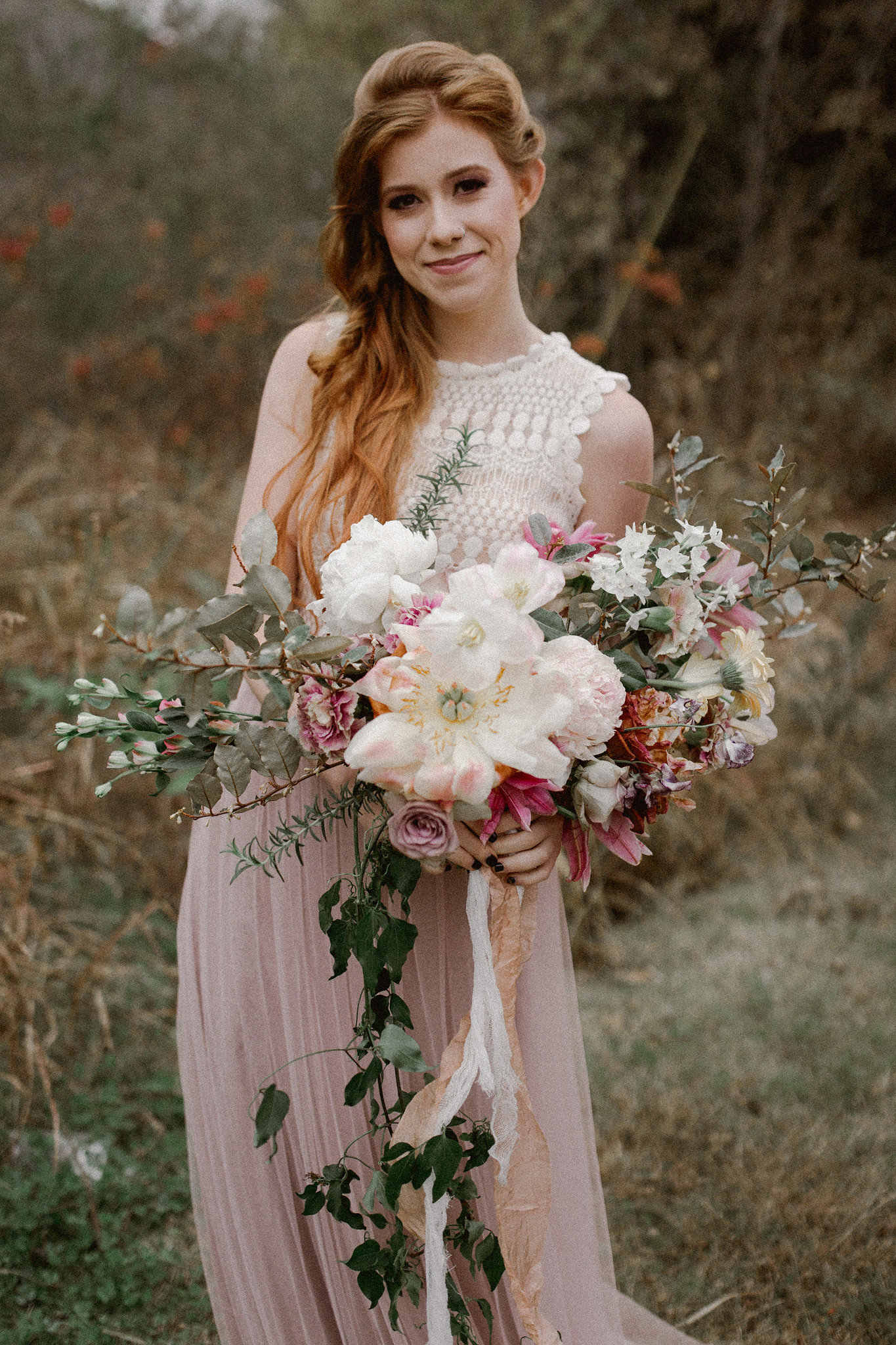 Romantic Free Bridal half up half down hairstyle + makeup | College Station hair + makeup artist Naturally Flawless | Bryan, Texas | Pink + Purple + Vintage + Romantic + Blush + outdoors + portrait + rustic | Wedding Coordinator Epoch Co+
