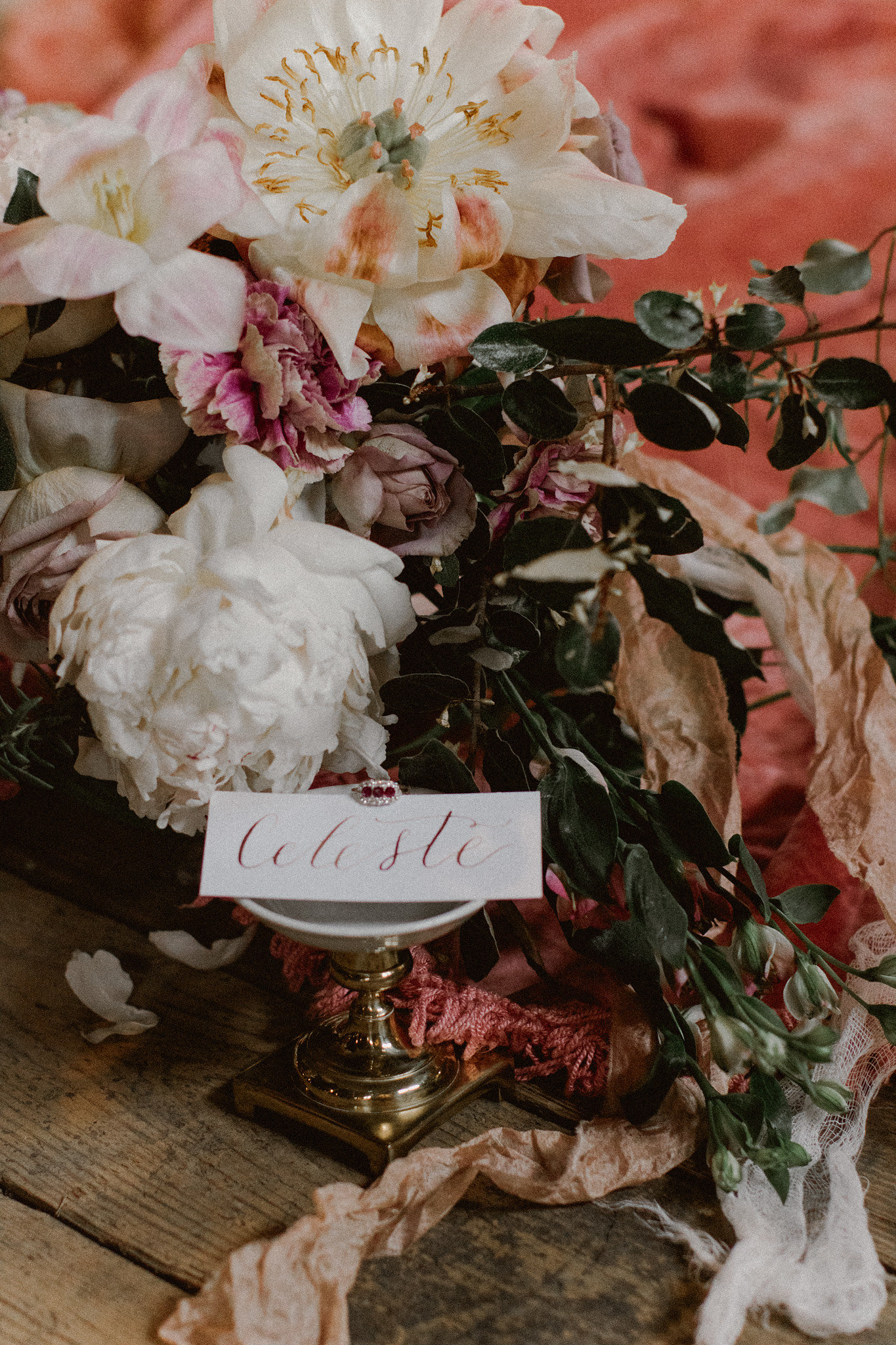 heirloom wedding ring + tabletop details + rubys + diamonds + flatly + styling + peony + wood floors | wedding planner epoch co+