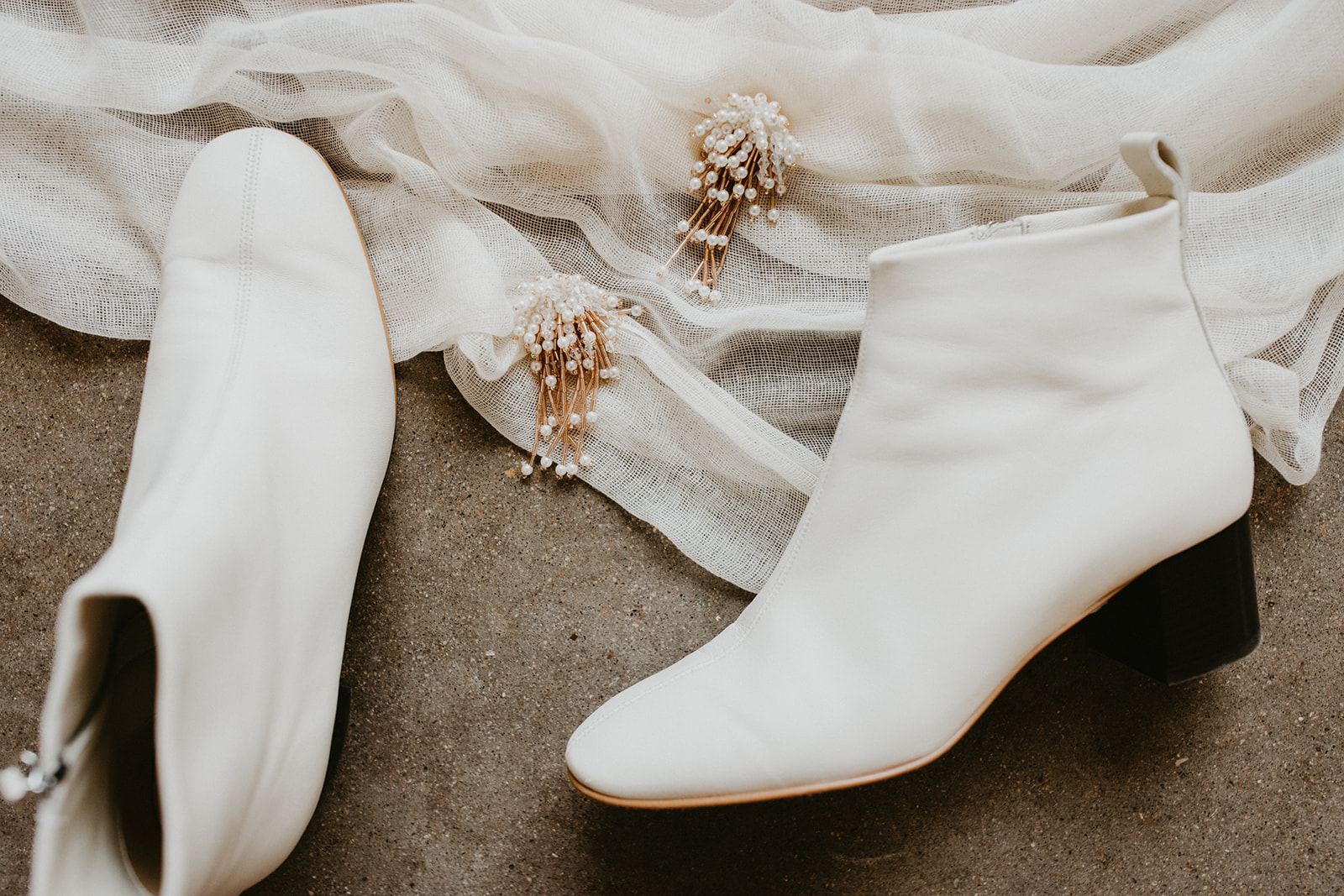 Bridal Shoes + Creamy Booties + Bridal Wedding Day Earrings + Jewelry + Boho + Hollywood Glam