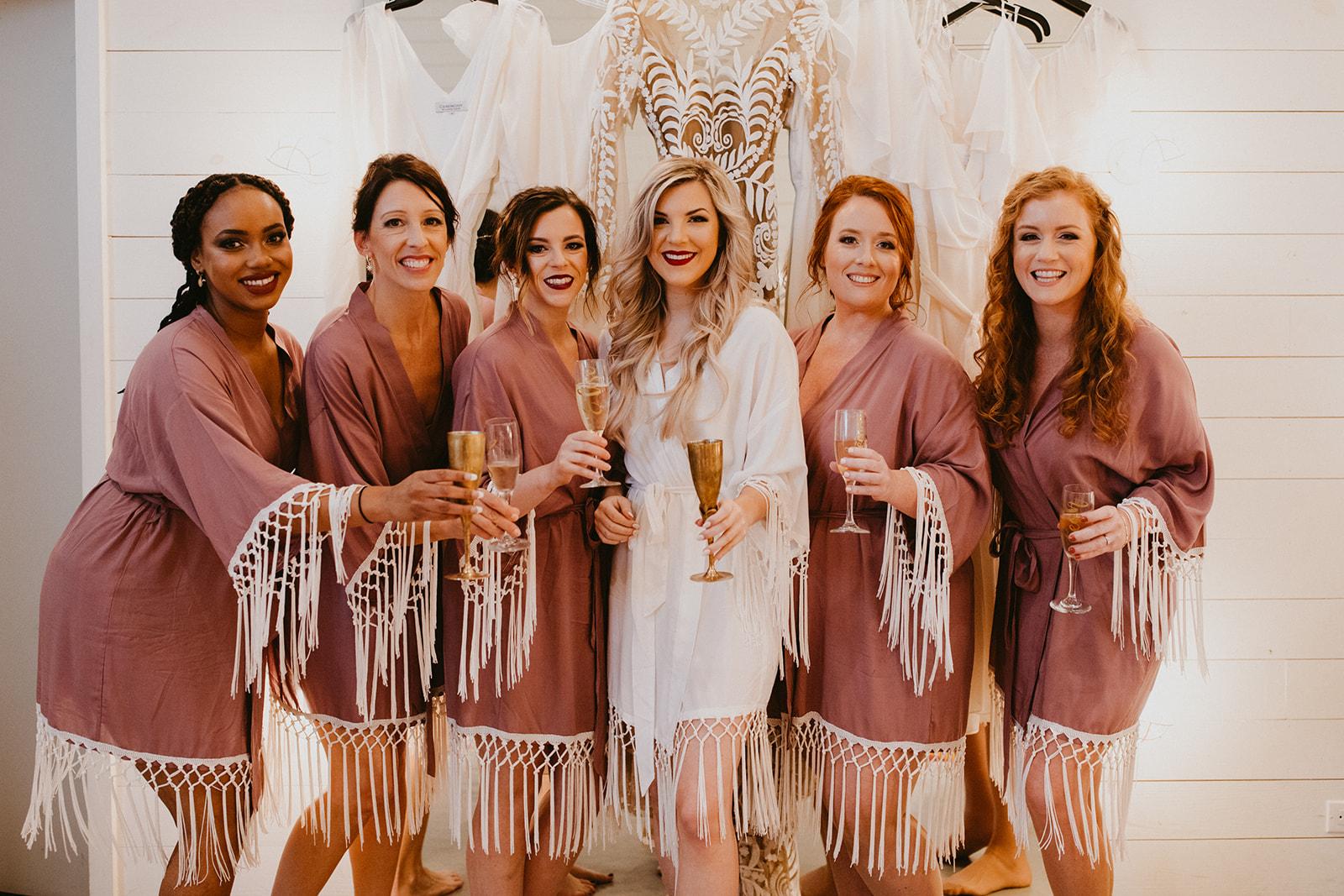 Boho Fringe Bridesmaid Getting Ready Robe Outfits + Destination Wedding Planner Epoch Co+ + Colorado Photographer Century Tree