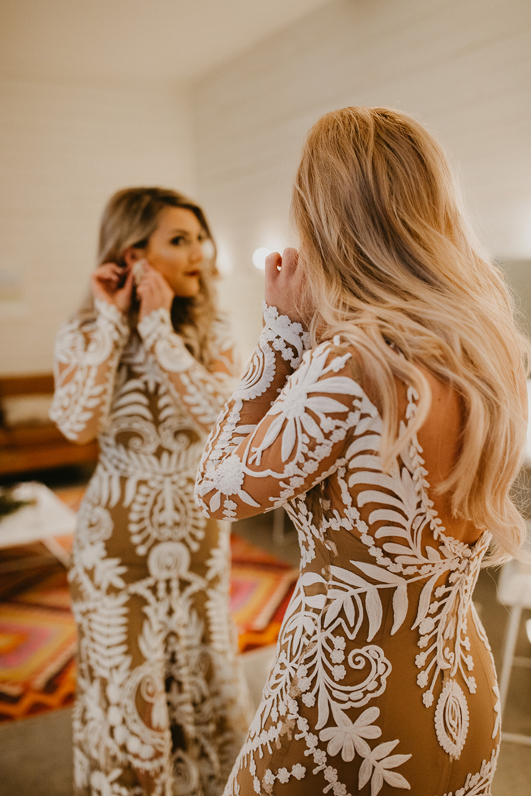 bride getting ready images + rue de seine wedding dress nude lining