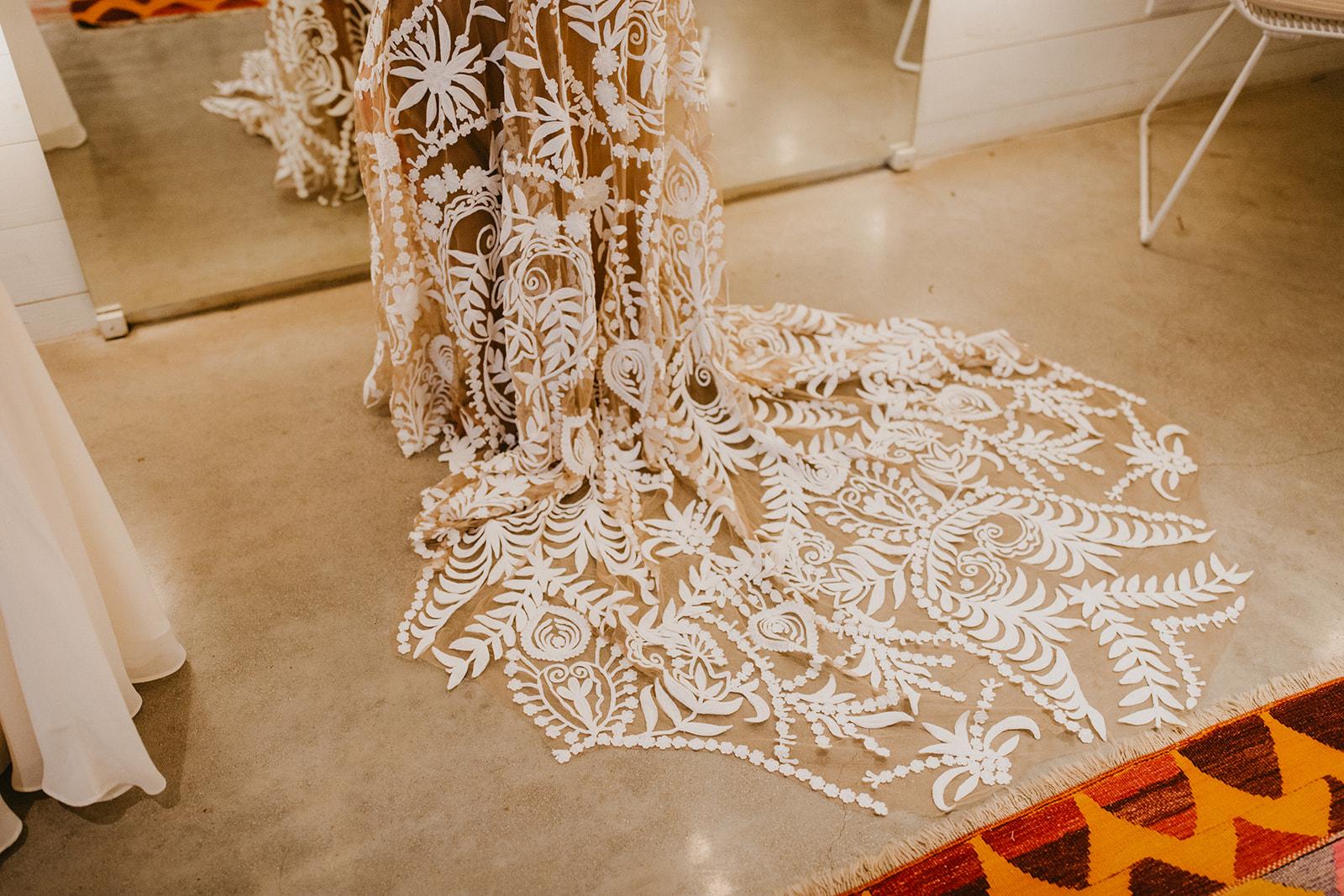 rue de seine wedding dress train with nude lining