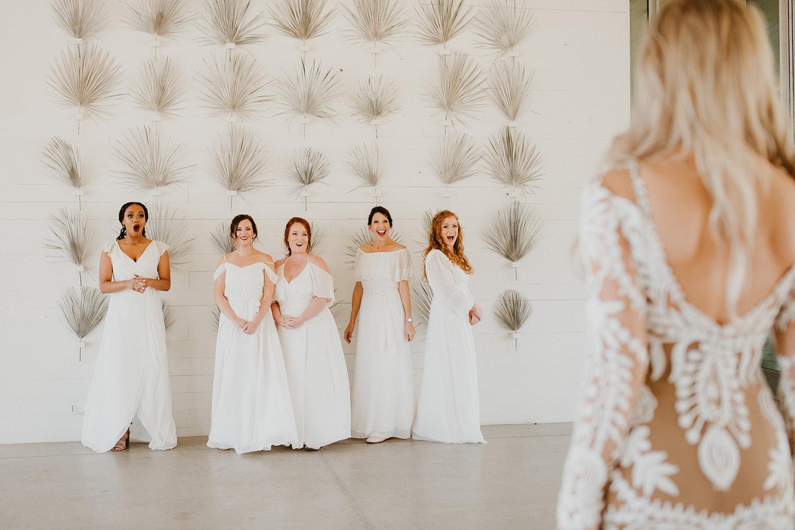 bridesmaid first look on wedding day + prospect house wedding venue + wedding coordinator epoch co + telluride photographer century tree