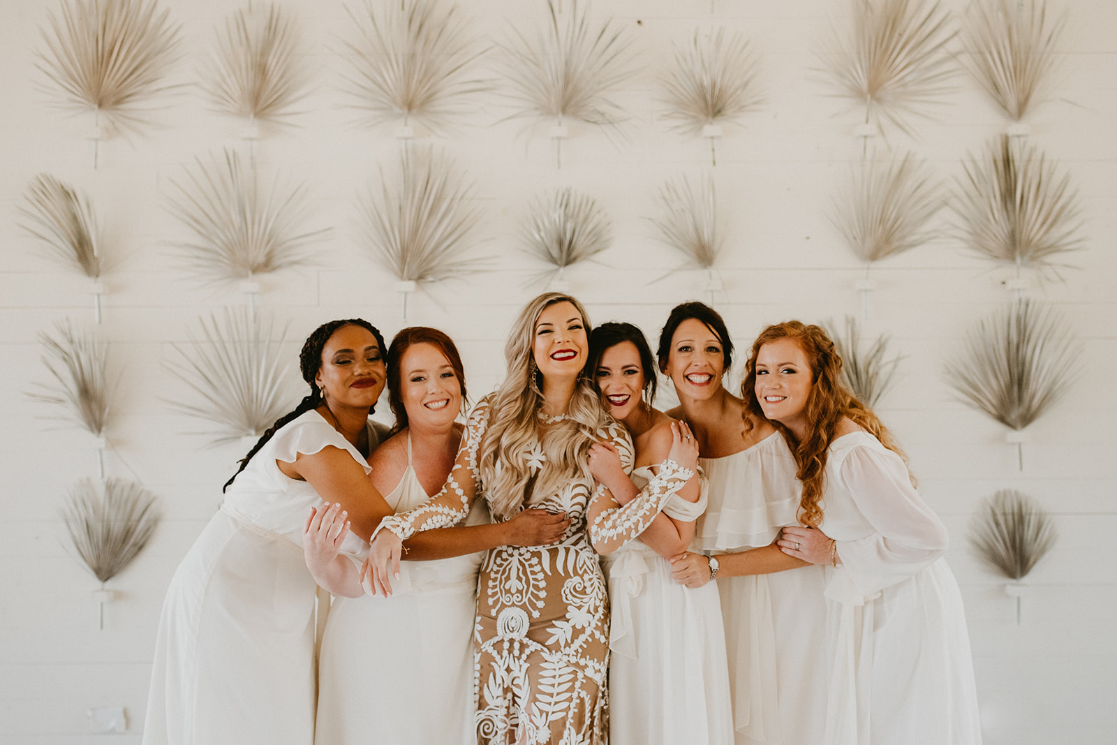 wedding party first look with bridesmaids