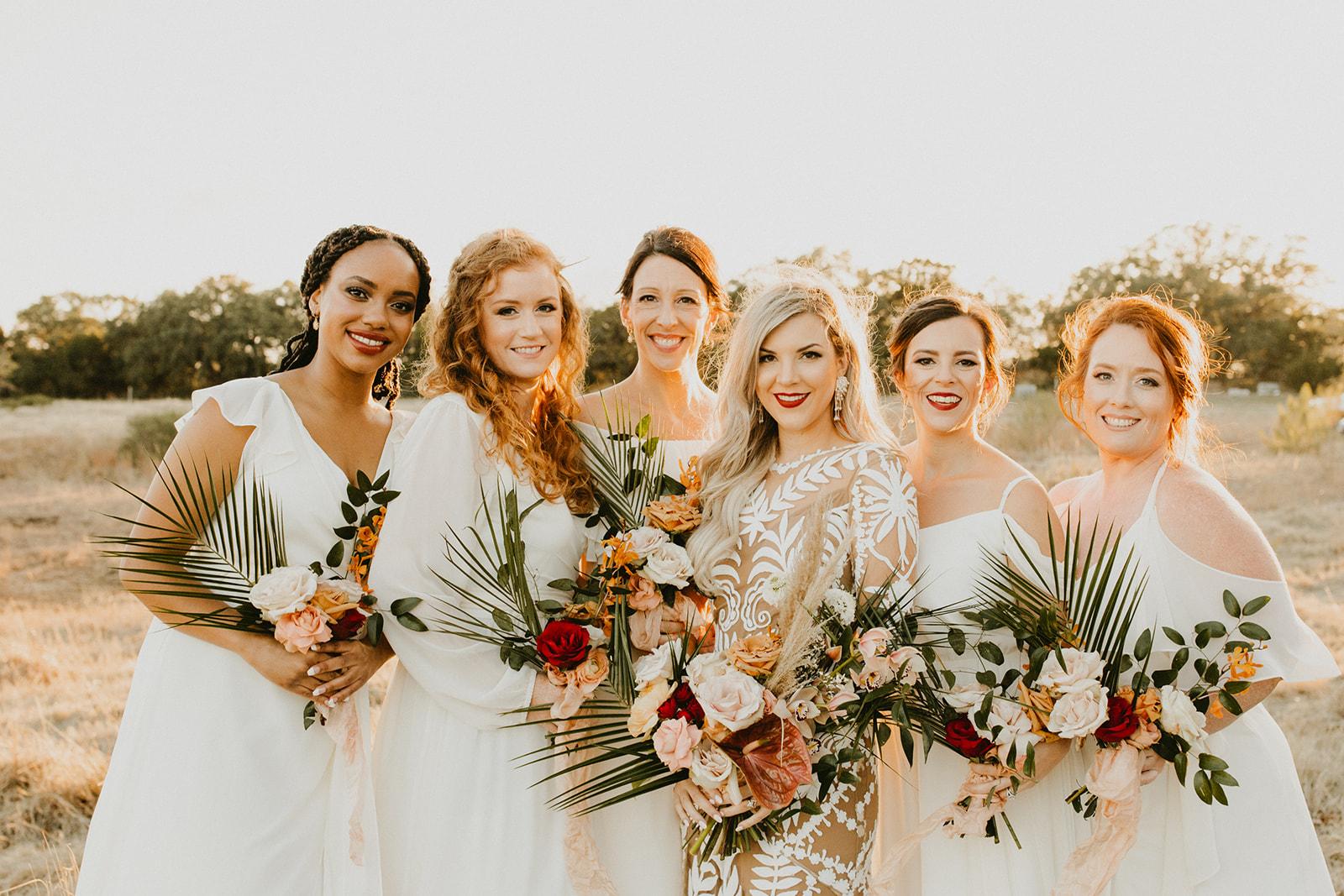 Tropical Colorful Frond Bridesmaid + Bride Bouquets + White Creamy Bridesmaid Dresses + Rue De Seine Wedding Dress + Boho Wedding + Wedding Designer Planner Epoch Co+