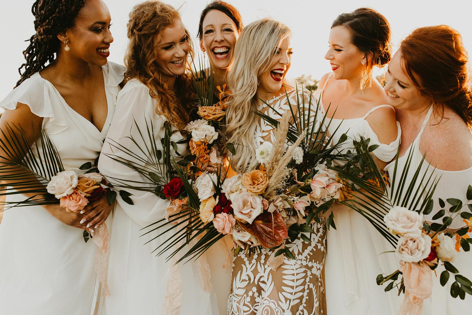 Tropical Colorful Frond Bridesmaid + Bride Bouquets + White Creamy Bridesmaid Dresses + Rue De Seine Wedding Dress + Boho Wedding + Wedding Designer Planner Epoch Co+ + Palm Springs + Telluride Durango Colorado Wedding Photographer Century Tree