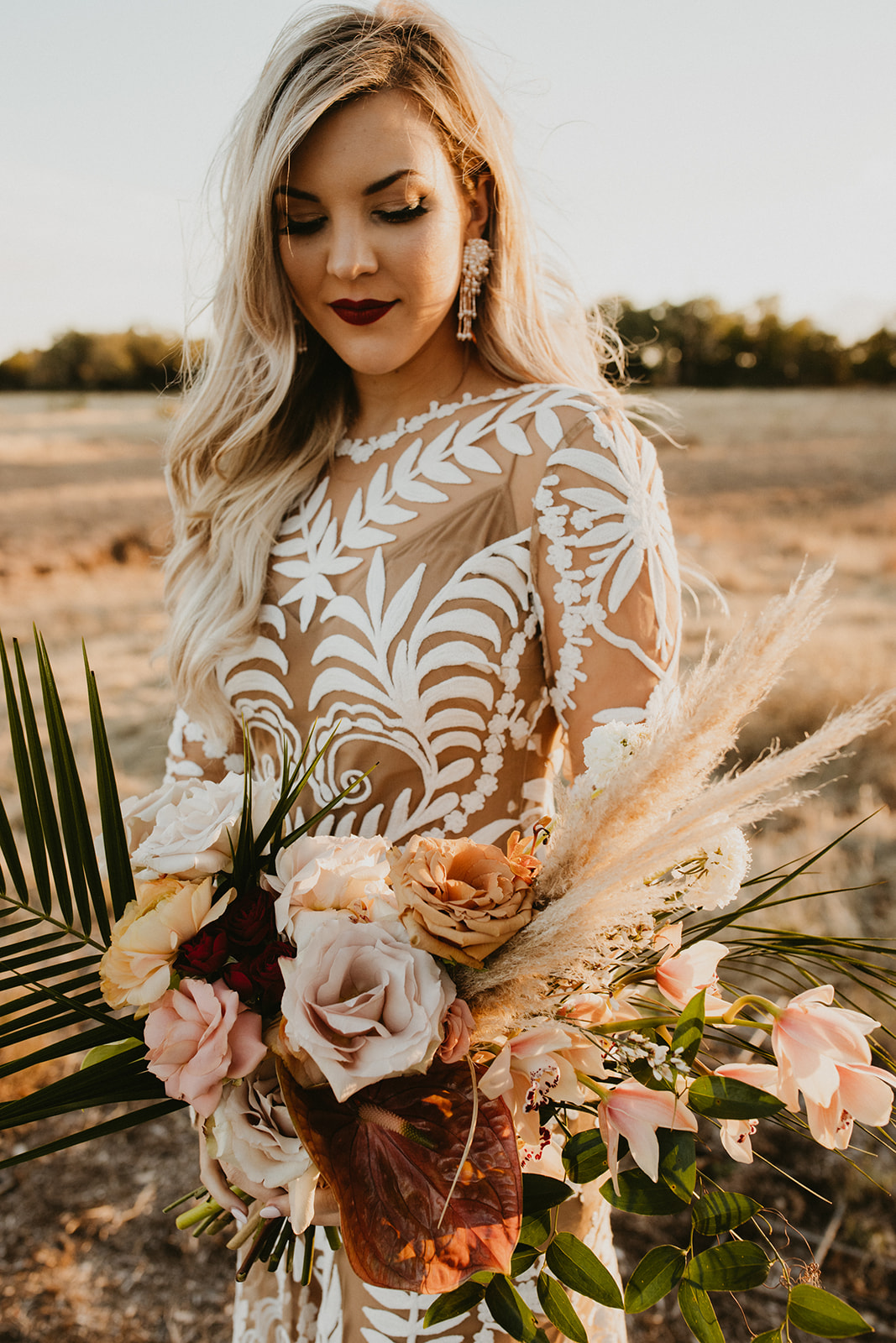 Colorful Boho Tropical Palm Springs Bridal Bouquet + Hollywood Glam Bridal Makeup Hairstyle + Outdoor Wedding