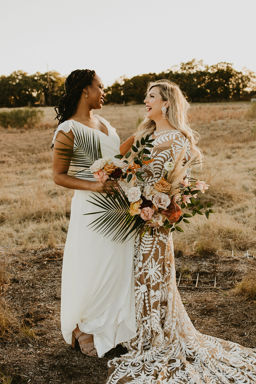Tropical Colorful Frond Bridesmaid + Bride Bouquets + White Creamy Bridesmaid Dresses + Rue De Seine Wedding Dress + Boho Wedding + Planner Epoch Co+