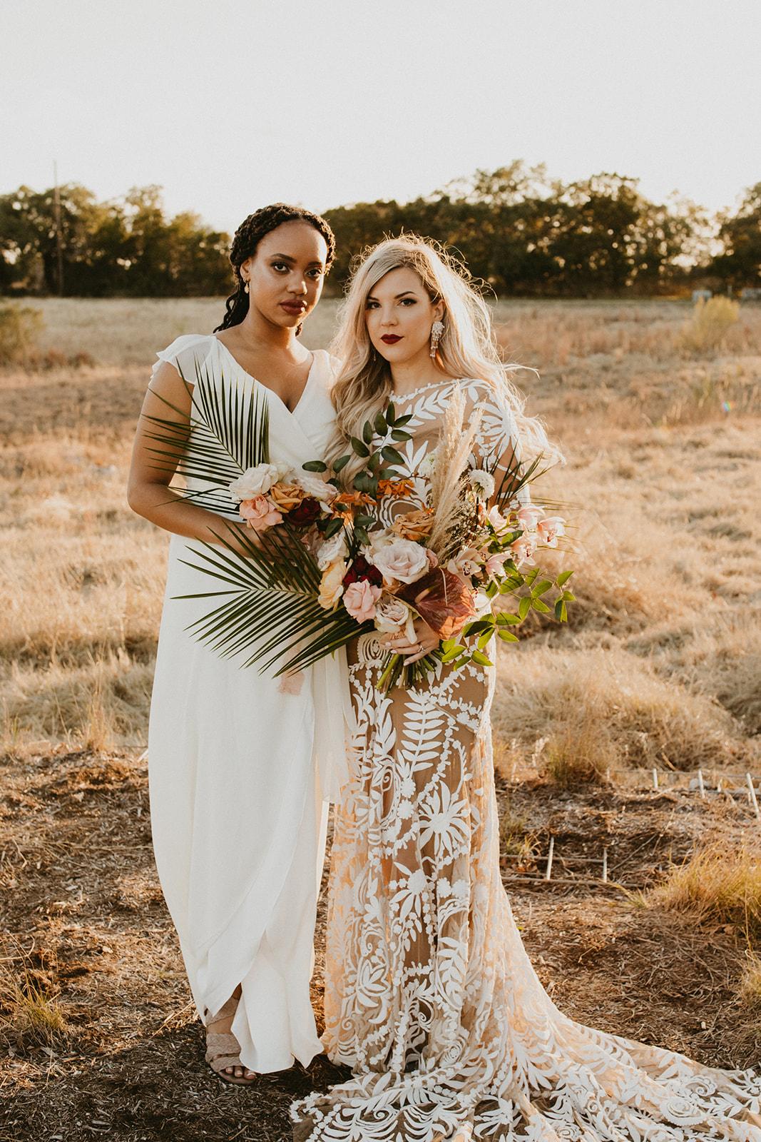 Tropical Colorful Frond Bridesmaid + Bride Bouquets + White Creamy Bridesmaid Dresses + Rue De Seine Wedding Dress + Boho Wedding + telluride wedding photographer century tree