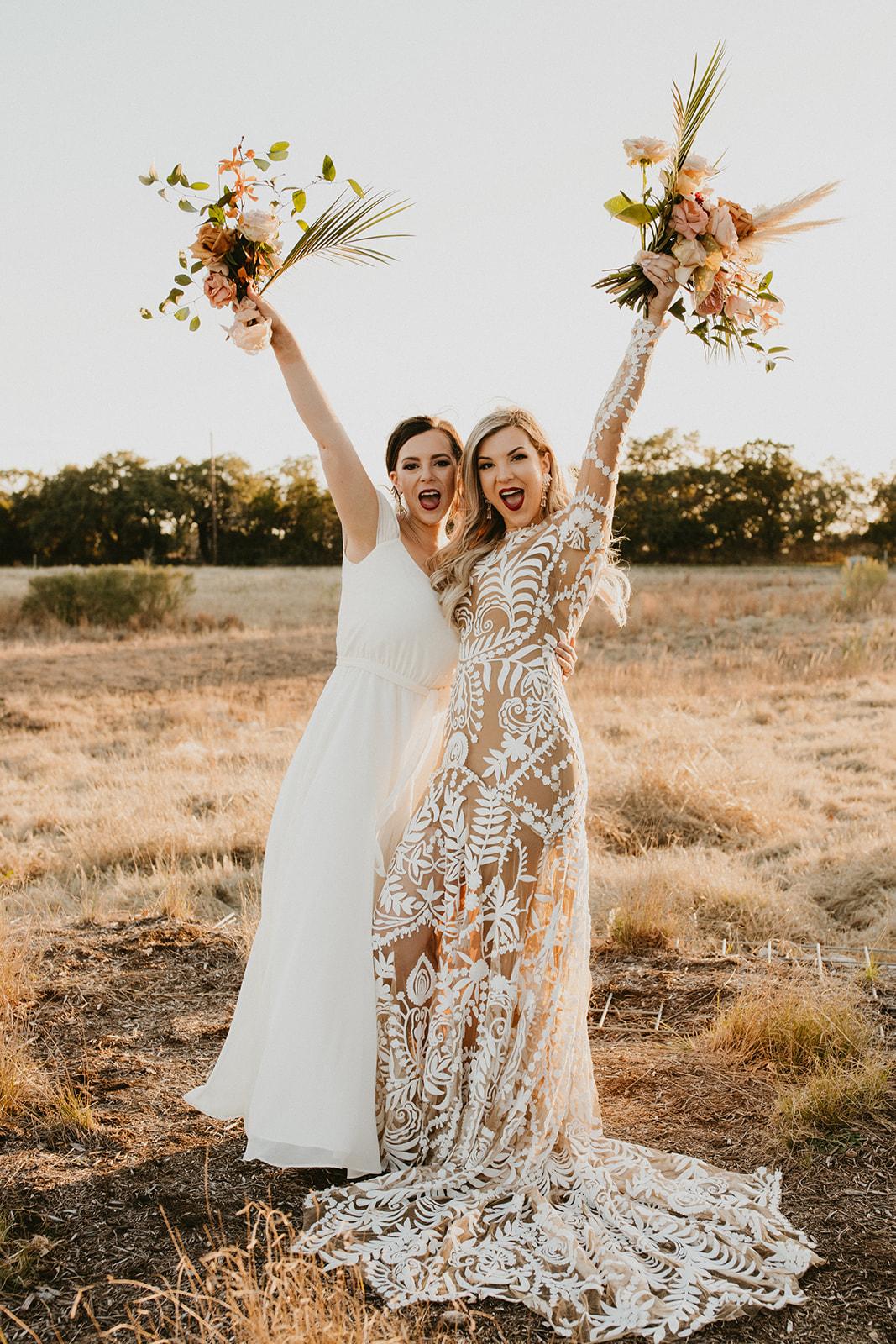 Tropical Colorful Frond Bridesmaid + Bride Bouquets + White Creamy Bridesmaid Dresses + Rue De Seine Wedding Dress + Boho Wedding + sisters