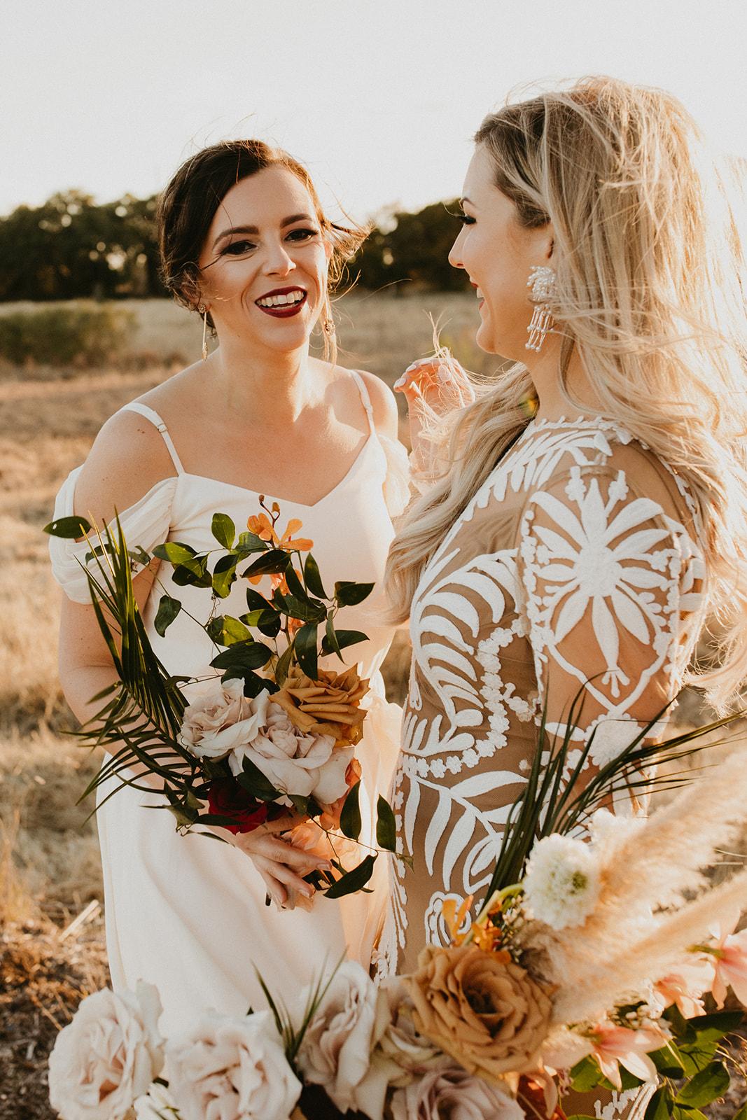 Tropical Colorful Boho Bridesmaid + Bride Bouquets + White Creamy Bridesmaid Dresses + Rue De Seine Wedding Dress + Boho Wedding + Wedding Designer Planner Epoch Co+