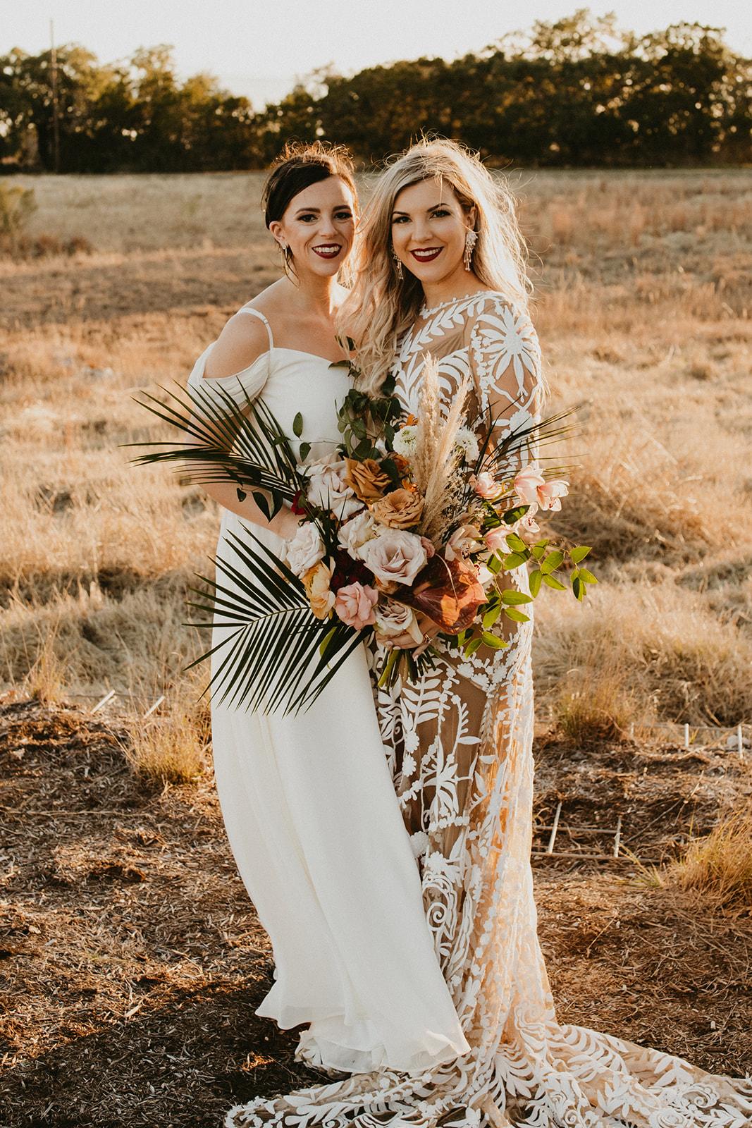 Tropical Colorful Frond Bridesmaid + Bride Bouquets + White Creamy Bridesmaid Dresses + Rue De Seine Wedding Dress + Boho Wedding + Wedding Coordinator Epoch Co+
