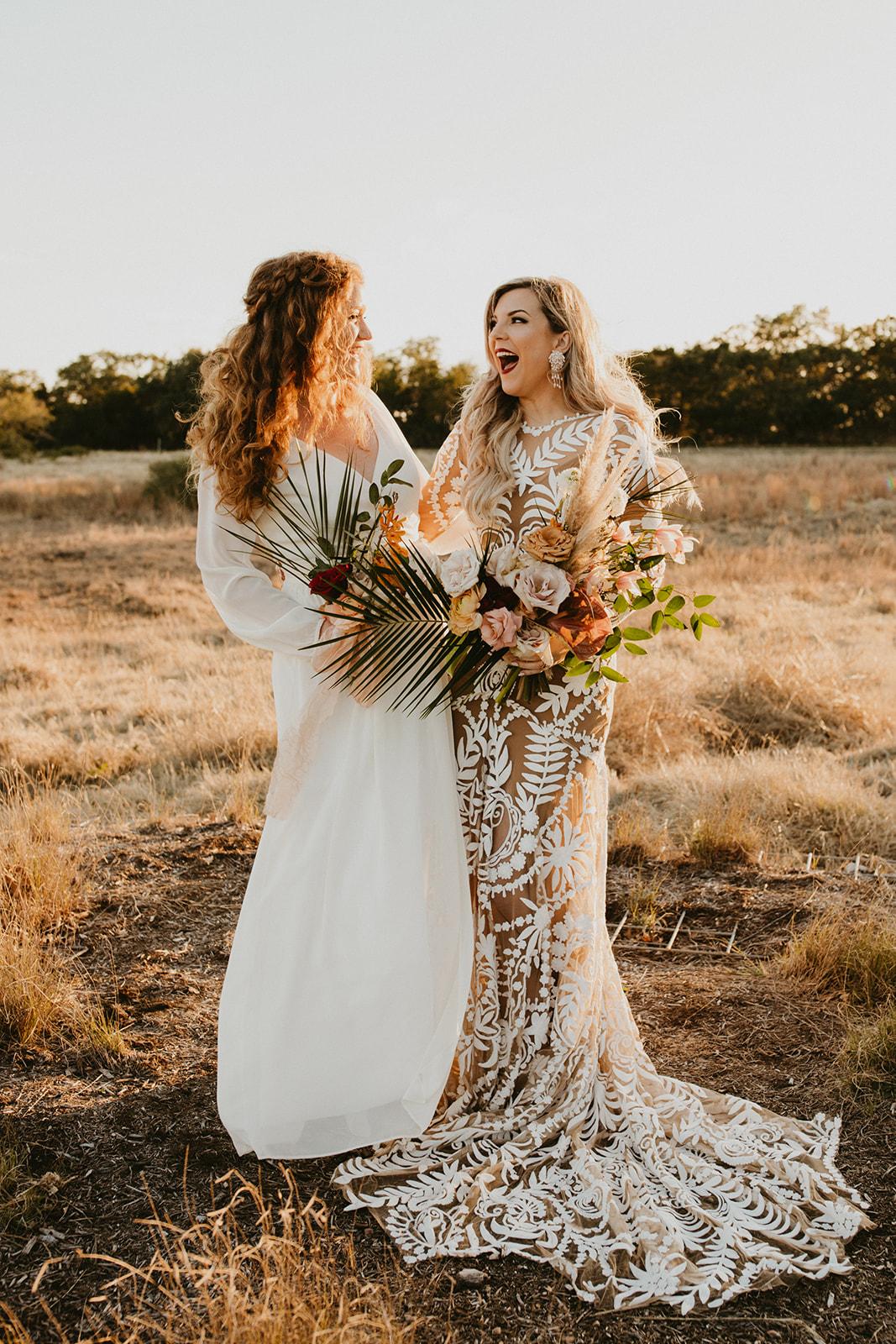 Tropical Colorful Frond Bridesmaid + Bride Bouquets + White Creamy Bridesmaid Dresses + Rue De Seine Wedding Dress + Boho Wedding + Dallas Wedding Florist Tersilla