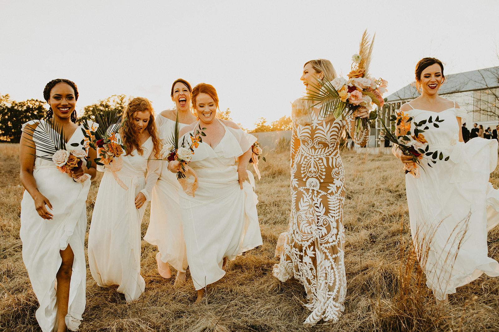 Tropical Colorful Frond Bridesmaid + Bride Bouquets + White Creamy Bridesmaid Dresses + Rue De Seine Wedding Dress + Boho Wedding + Dallas Wedding Florist Tersilla + wedding party pictures