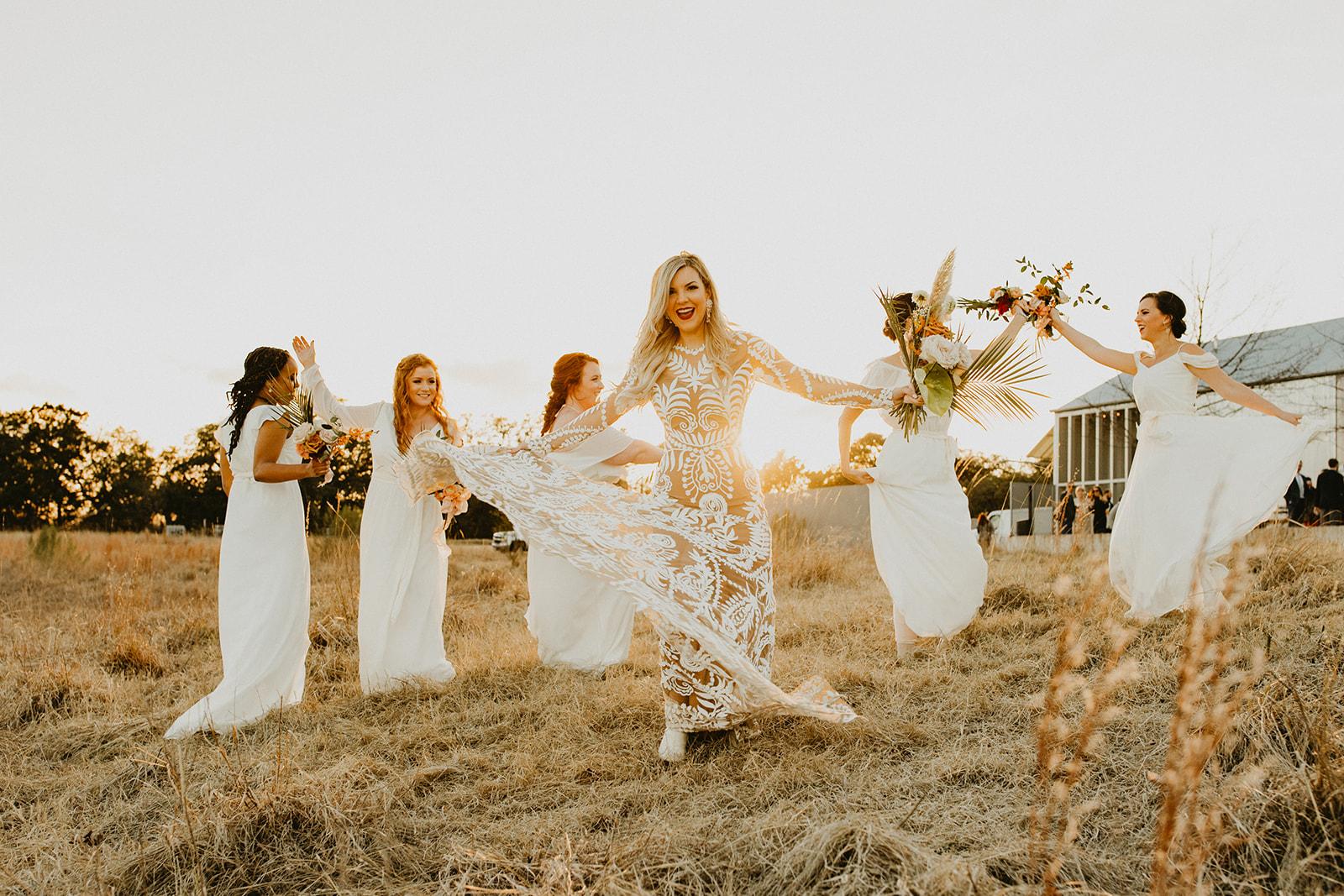 Tropical Colorful Frond Bridesmaid + Bride Bouquets + White Creamy Bridesmaid Dresses + Rue De Seine Wedding Dress + wild free bridesmaids wedding party portraits + Dallas Wedding Florist Tersilla