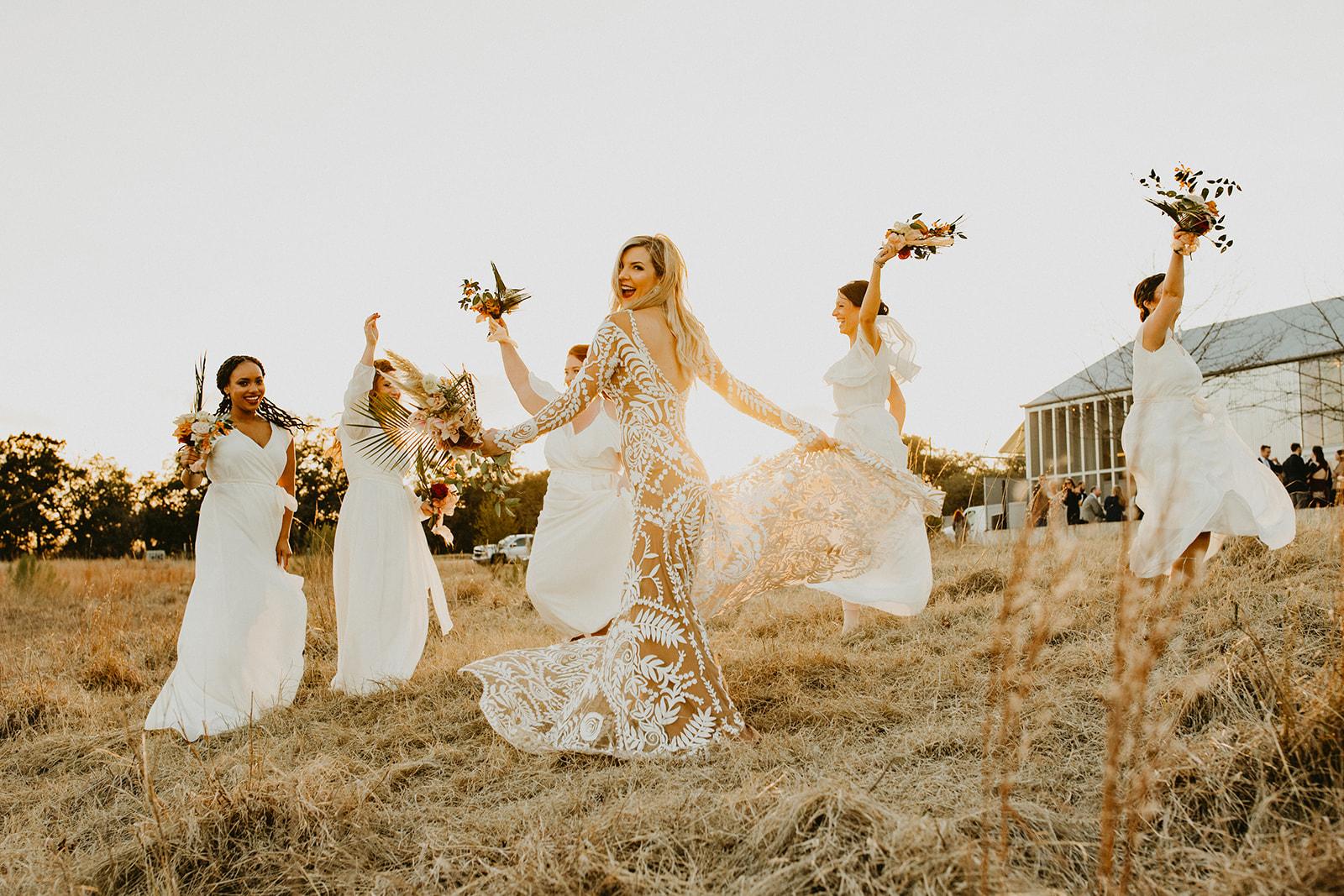 Hawkes_BP___Family-108.jpgTropical Colorful Frond Bridesmaid + Bride Bouquets + White Creamy Bridesmaid Dresses + Rue De Seine Wedding Dress + Boho Wedding + Dallas Wedding Florist Tersilla