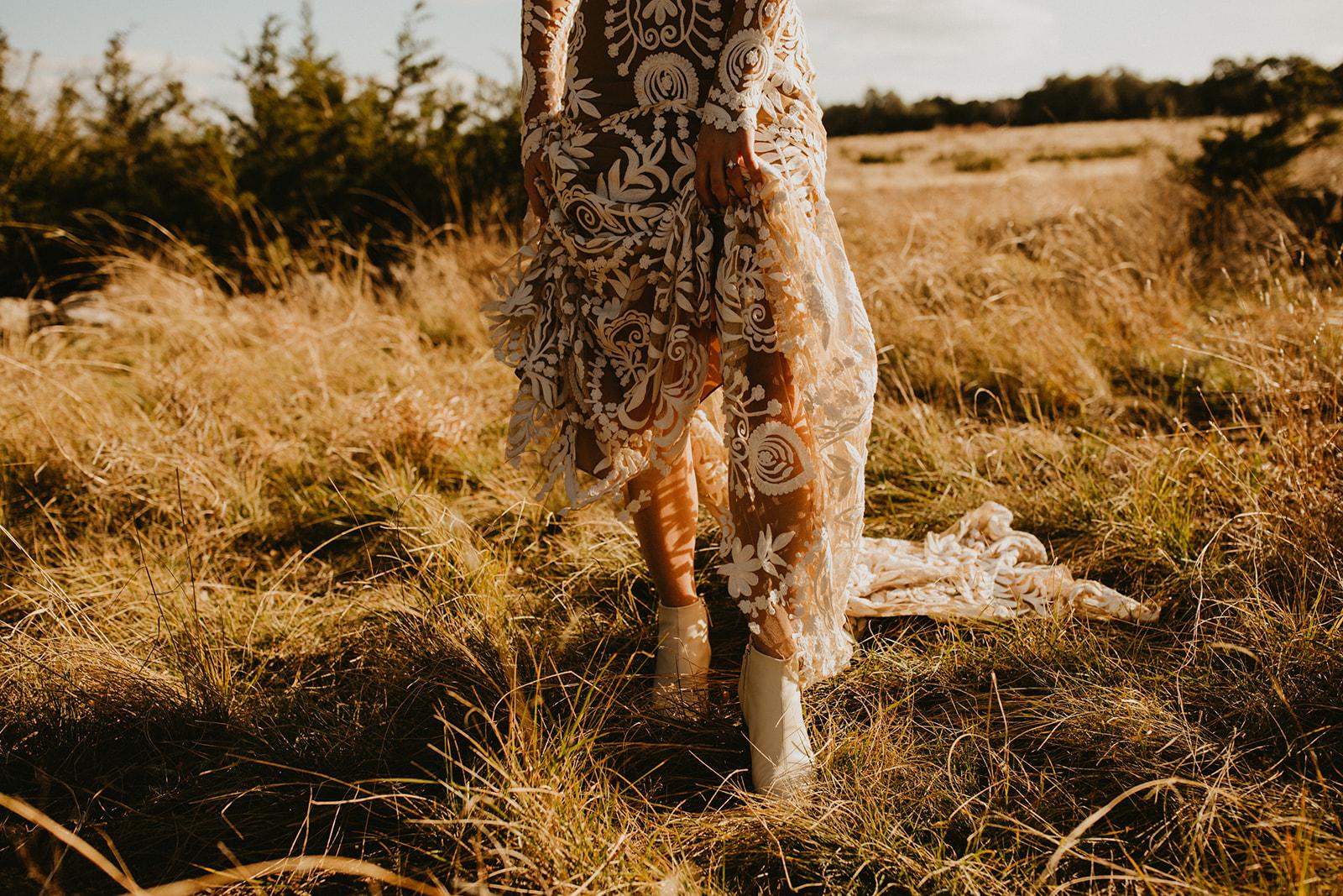 Boho Rue De Seine Wedding Dress Outdoor Bridal Portrait + bridal shoe booties + texas wedding planner epoch co