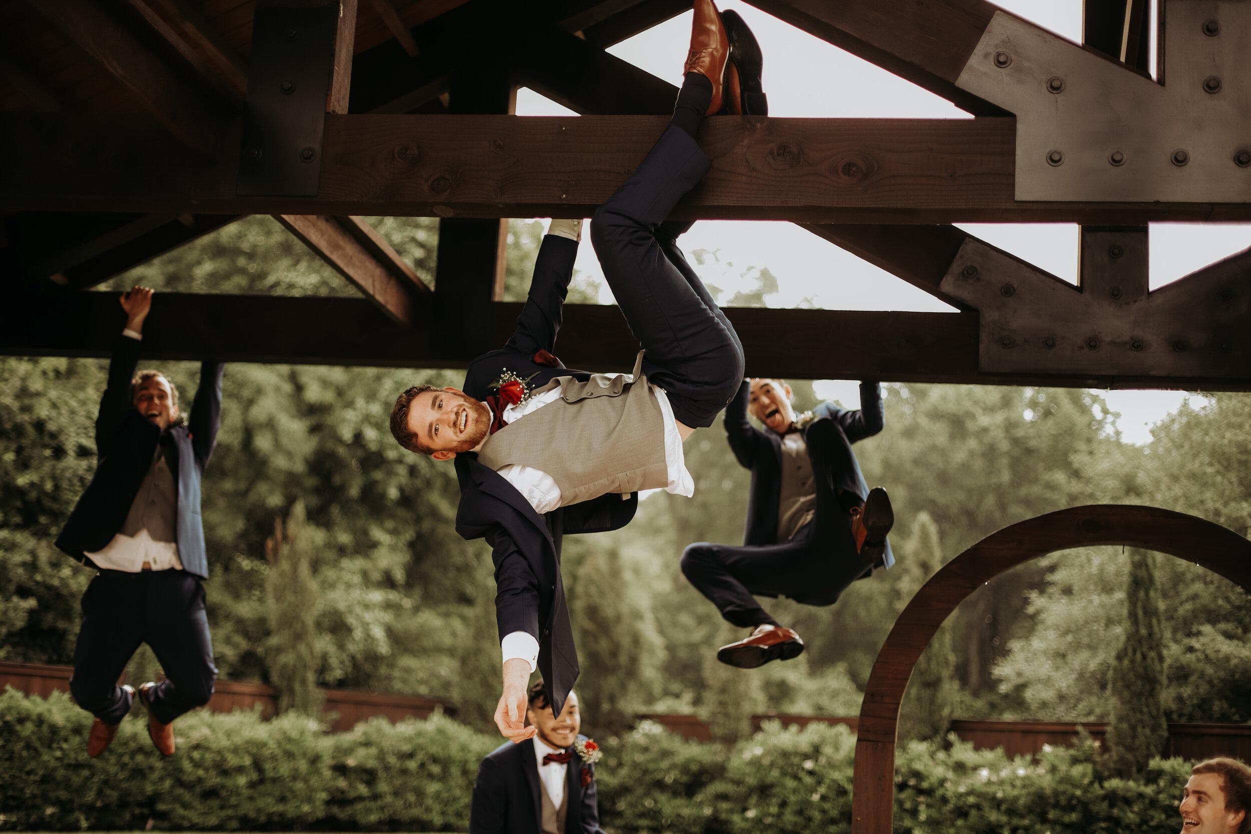 Fun Groomsmen Just Hanging Around || The Springs in Katy, TX || Houston Wedding Planner || Epoch Co+