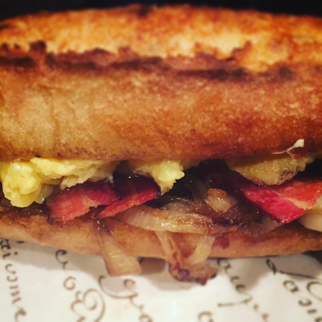 Bodega Breakfast Sandwich, Bacon, Eggs, Sauteed Onions, Aioli