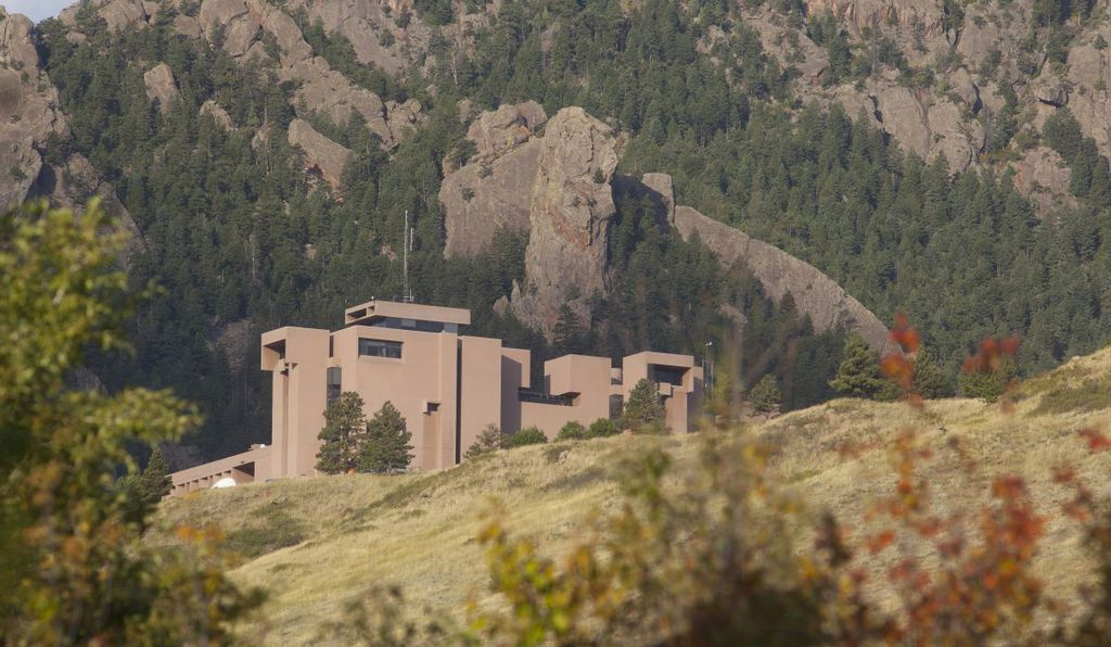 The Mesa Lab sits on a small plateau at the foot of the Rocky Mountains looking over Boulder