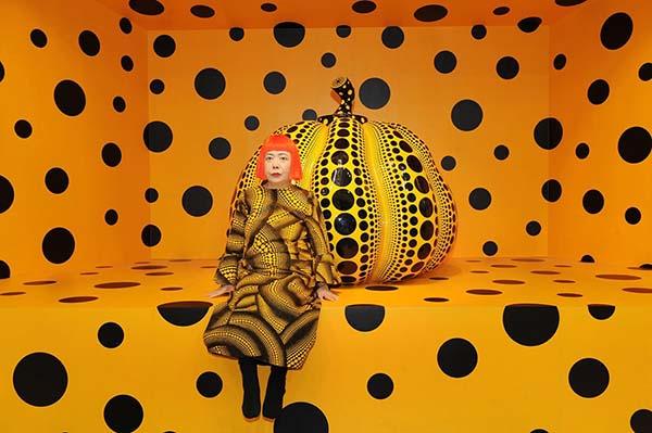 Yayoi Kusama with Pumpkin | Image courtesy of the Victoria Miro Gallery