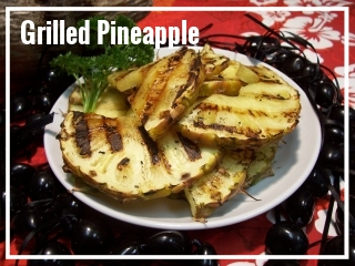 GRILLED PINEAPPLE   What can be more tropical than pineapple? Fresh pineapple is sliced at our facility, cored, and grilled over lava rock.  Medium Tray - approximately 10-15 guests, $35 Large Tray - approximately 20-30 guests, $65