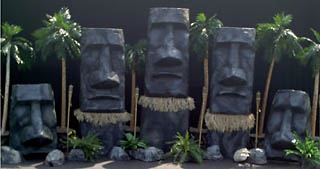 'EASTER ISLAND' BACKDROP SCENE   Set dimension are approximately 25' wide x 12' high x 6' deep.   This scene is great for grand decor, large stage backdrops, large photo stations, and special focal points. This is the scene to choose when you want to go outside the box of the traditional Hawaiian decor.   $1700