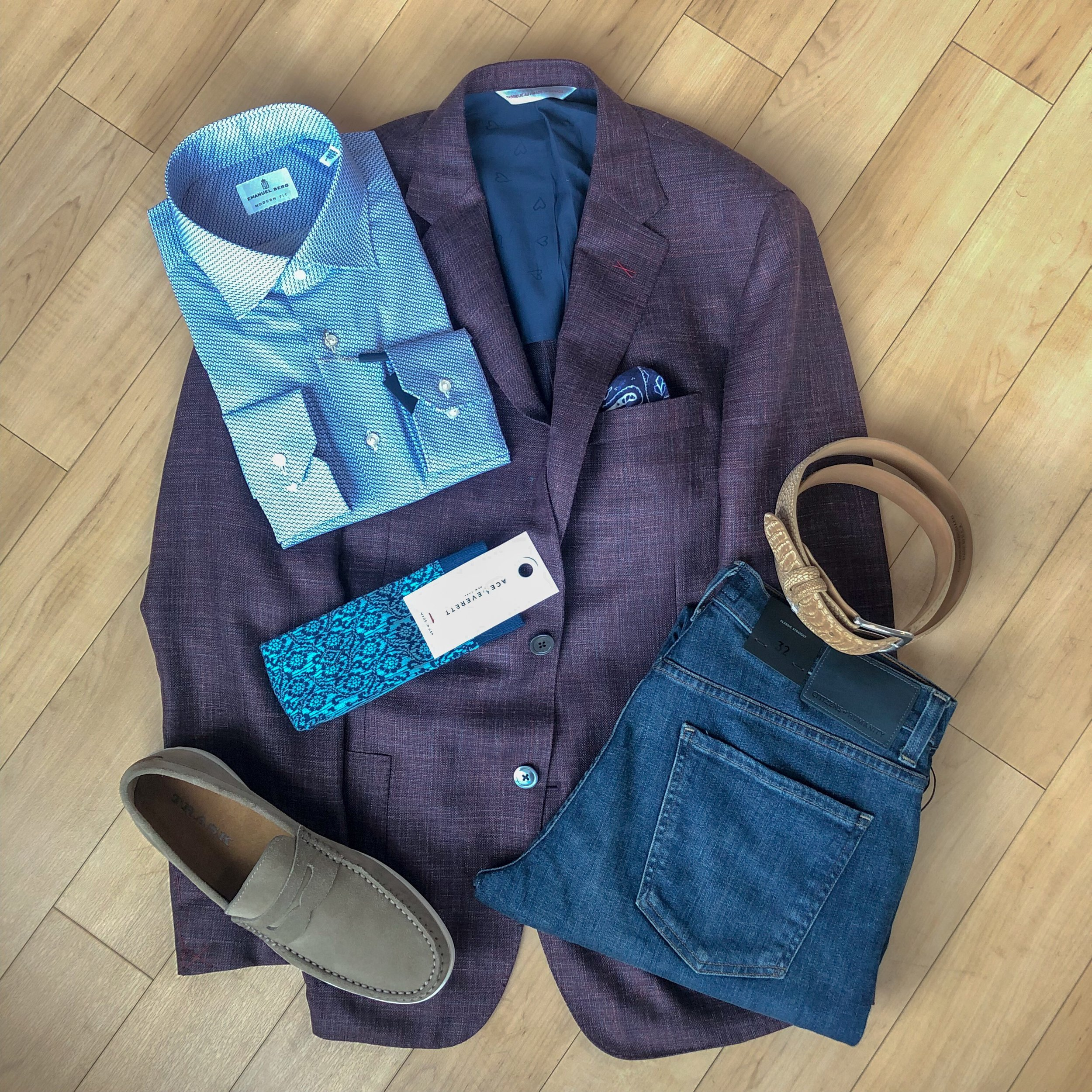 Weekend Denim Elegance - Light or washed denim go just as well with a sport coat, though we suggest one with a more deconstructed nature. Wear Citizens of Humanity jeans with an Emanuel Berg print shirt and a pair of Trask suede loafers and you're sure to be the best dressed at Sunday brunch.