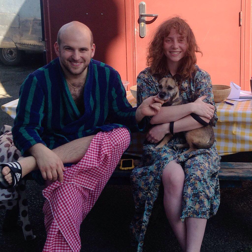 Post-sauna Nick Cassenbaum + Alice Malseed [+ dog]