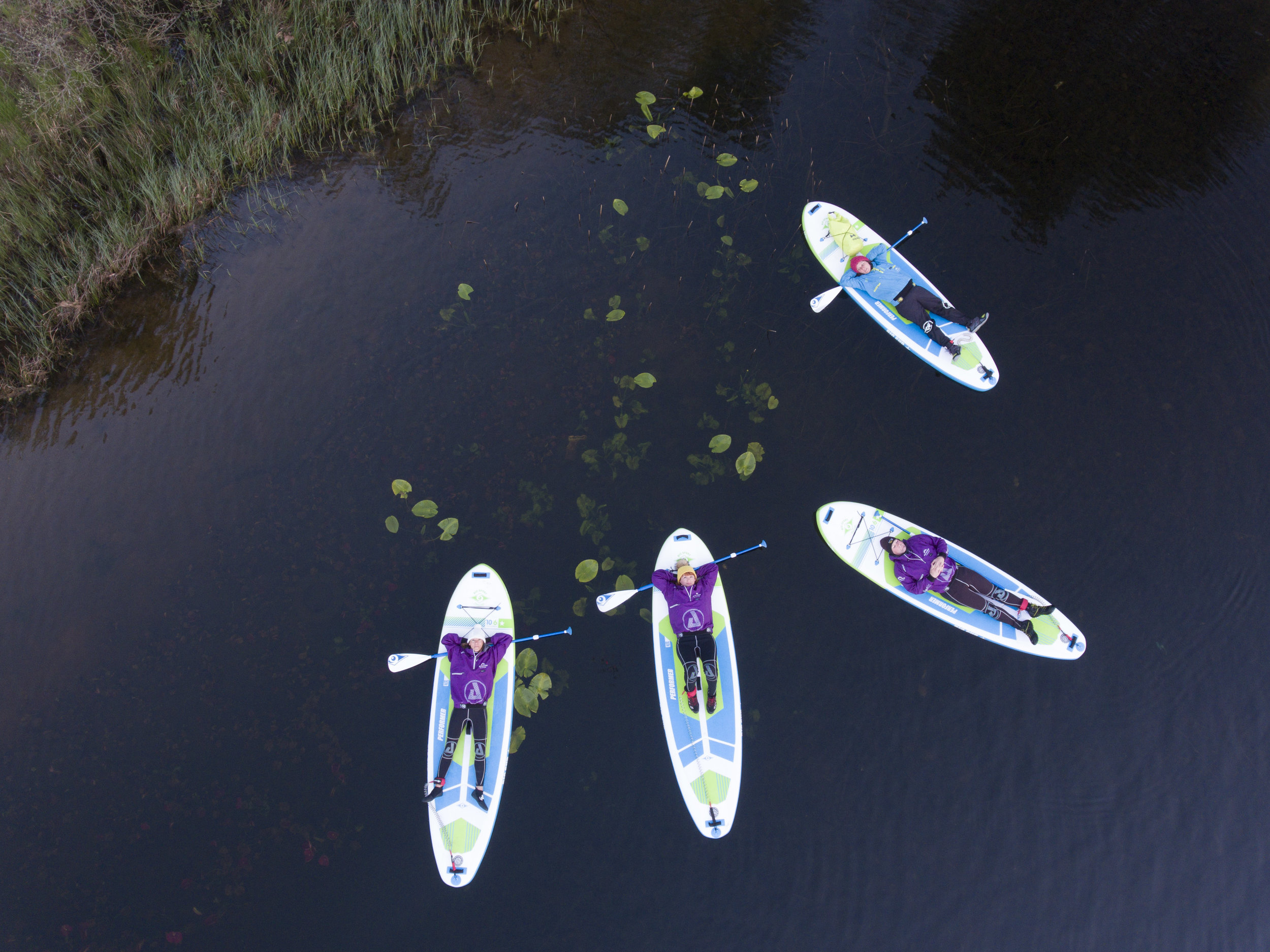 Floating around on the water lilies   Night SUP   Psyched Paddleboarding  