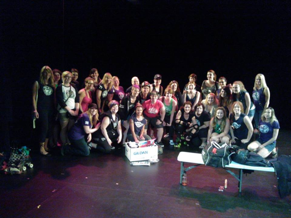 On stage with the Winnipeg Roller Derby League
