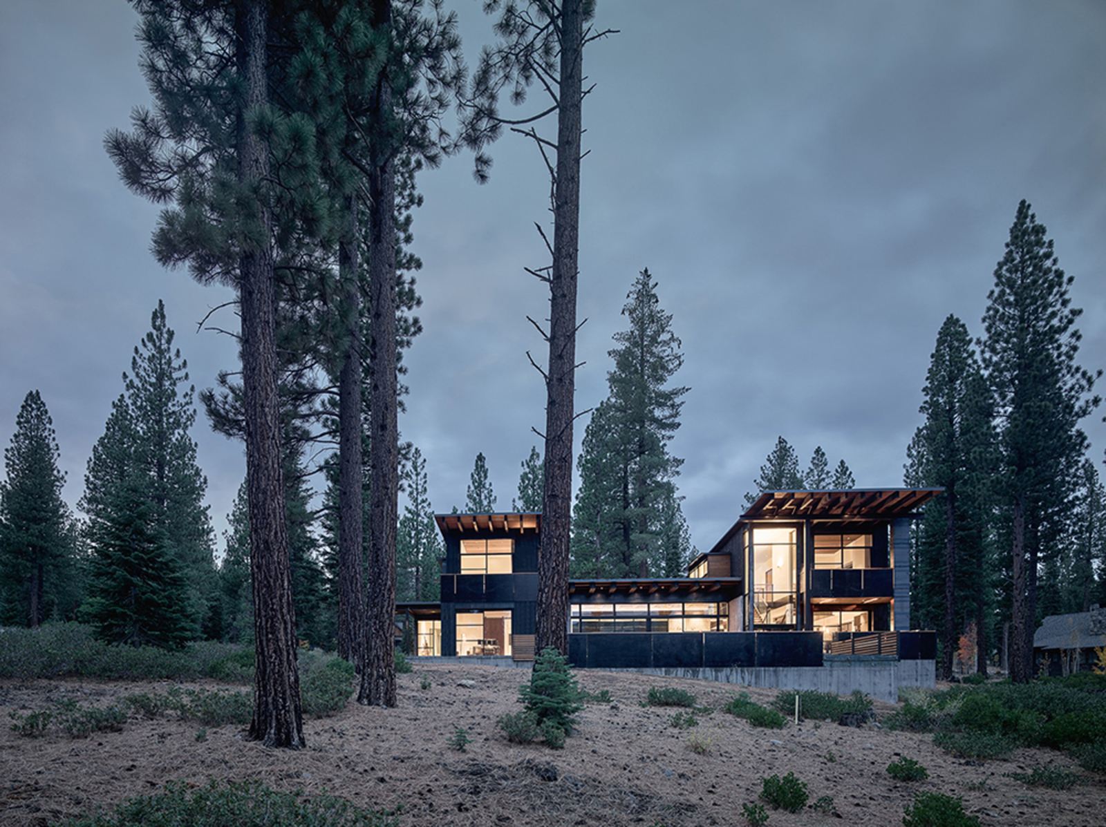 Photo: DWELL. The structure is divided into two solid vertical volumes connected by glazed living areas. The cedar cladding and steel panels reflect the hues of the surrounding forest.