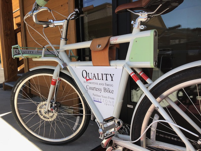 Courtesy bikes make getting around easy while your car is in the shop.